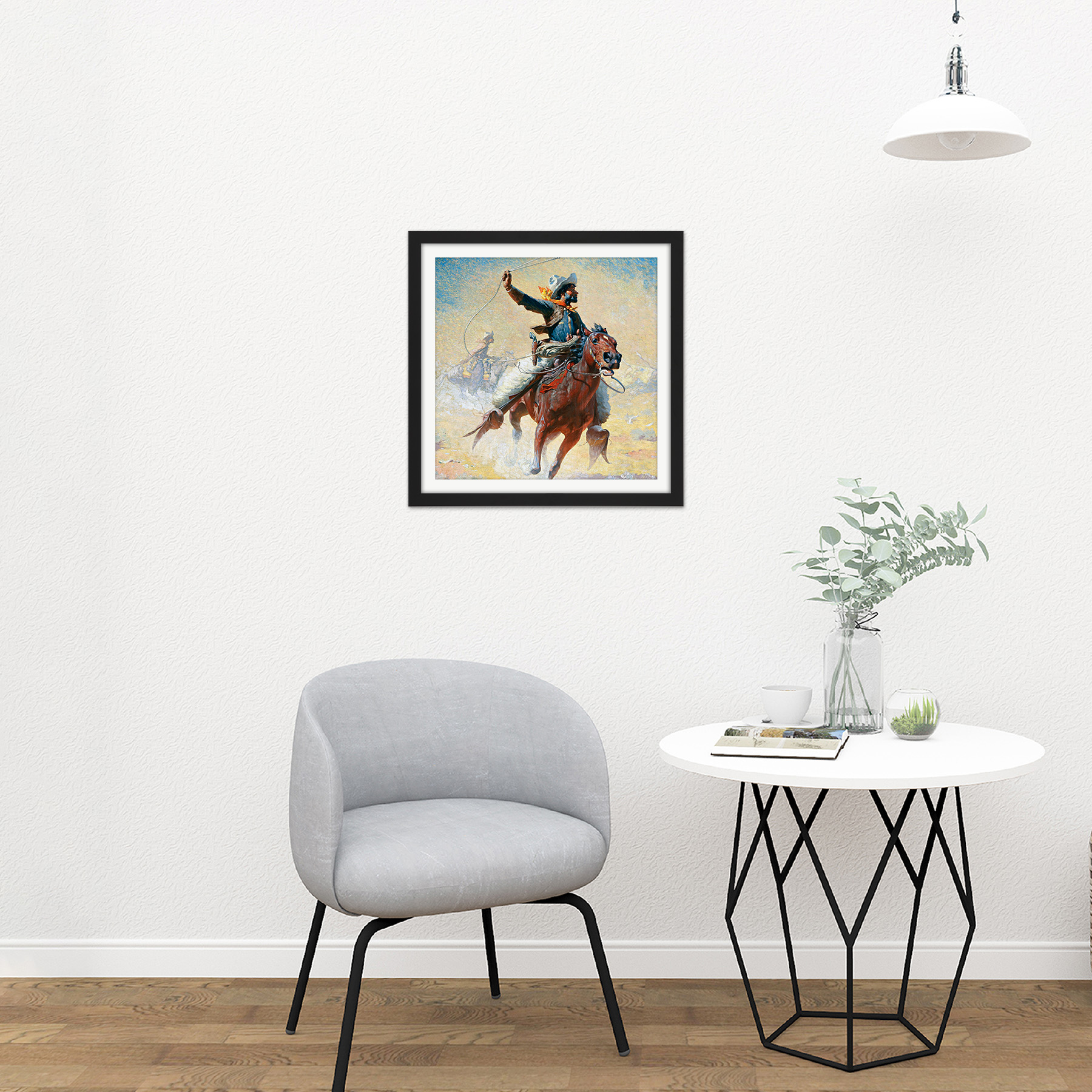 Leigh-The-Roping-Cowboy-Lasso-Horse-Painting-Square-Framed-Wall-Art-16X16-In thumbnail 3