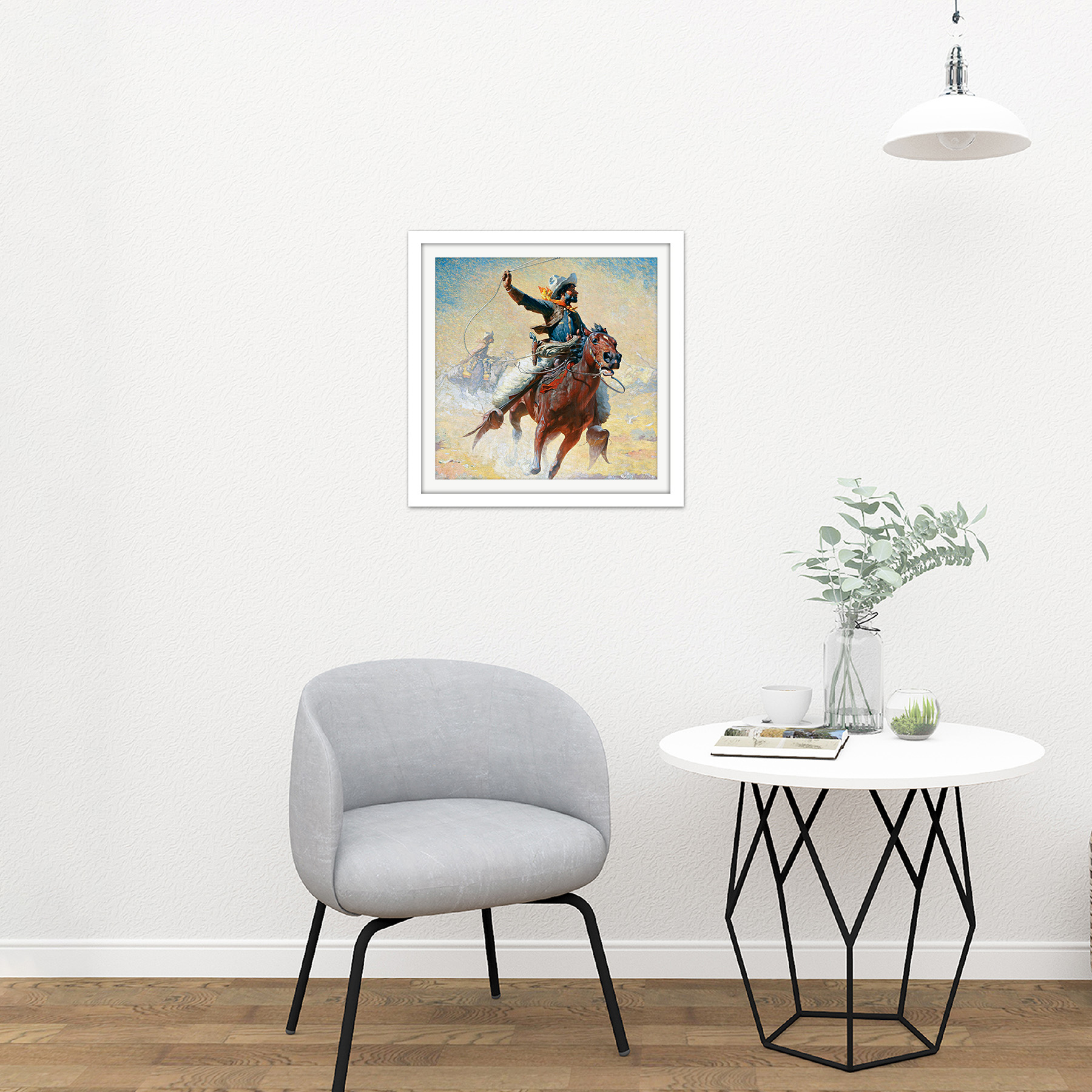 Leigh-The-Roping-Cowboy-Lasso-Horse-Painting-Square-Framed-Wall-Art-16X16-In thumbnail 15