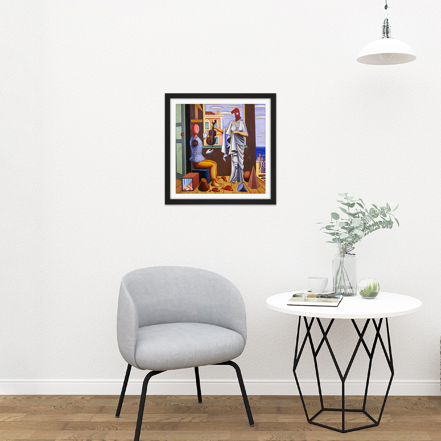 Nikos-Engonopoulos-Poet-And-Muse-Square-Framed-Wall-Art-16X16-In thumbnail 3