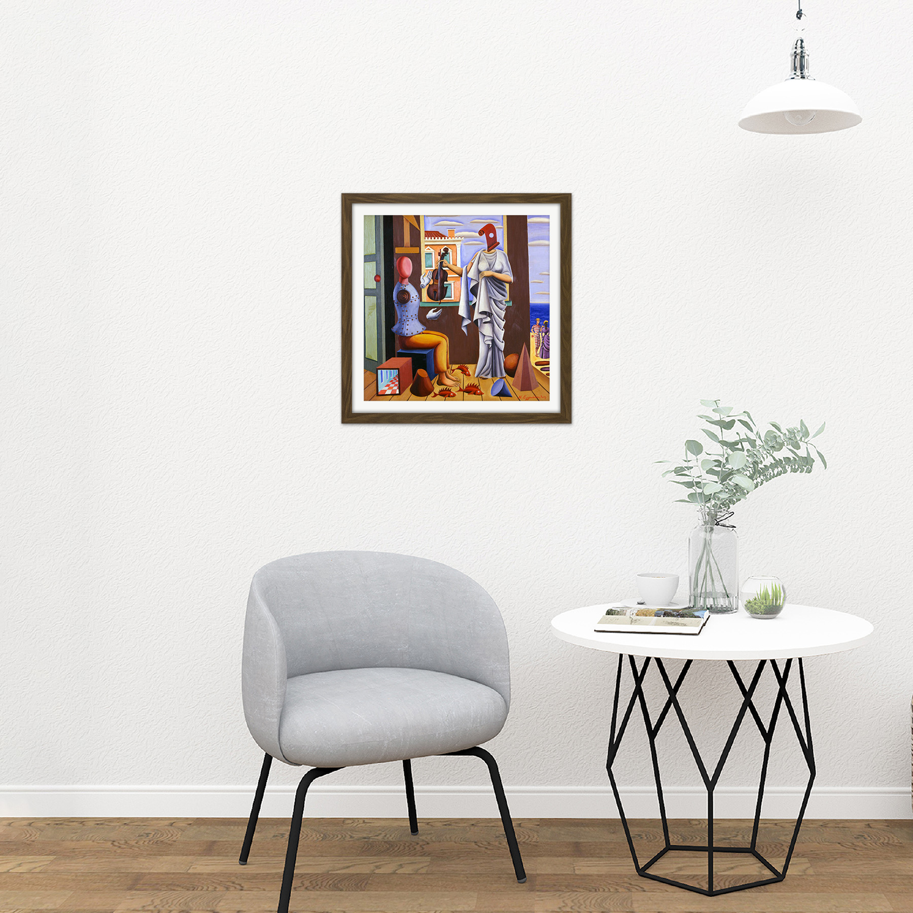 Nikos-Engonopoulos-Poet-And-Muse-Square-Framed-Wall-Art-16X16-In thumbnail 8