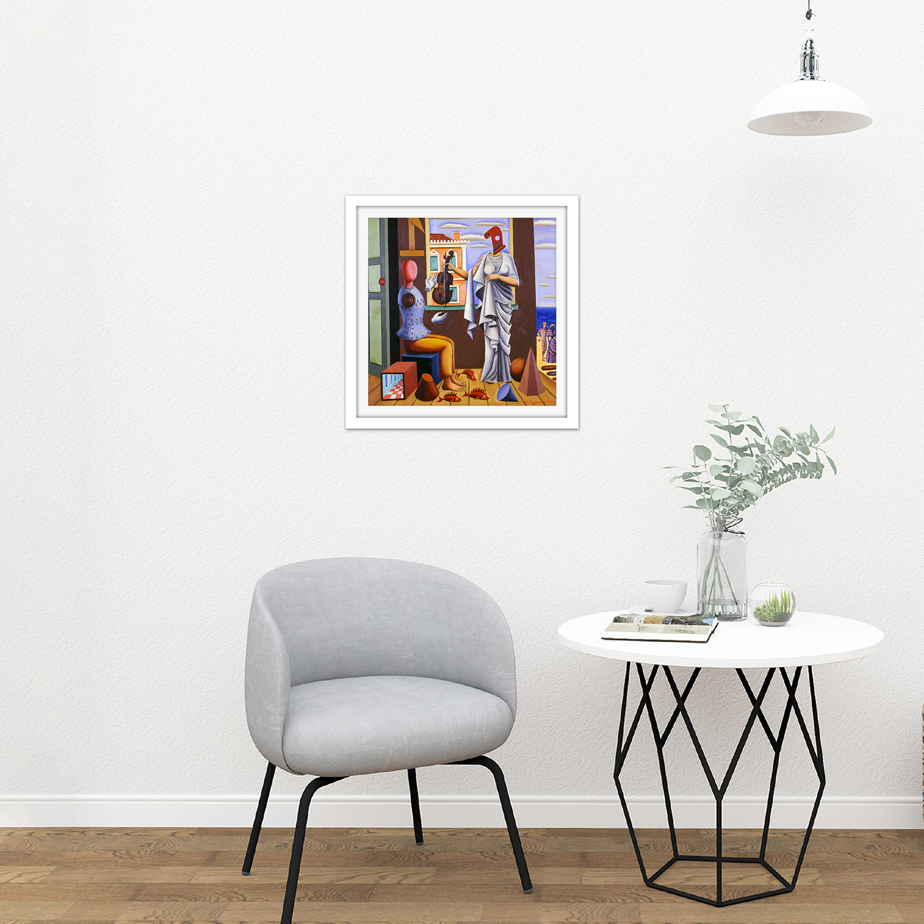 Nikos-Engonopoulos-Poet-And-Muse-Square-Framed-Wall-Art-16X16-In thumbnail 18