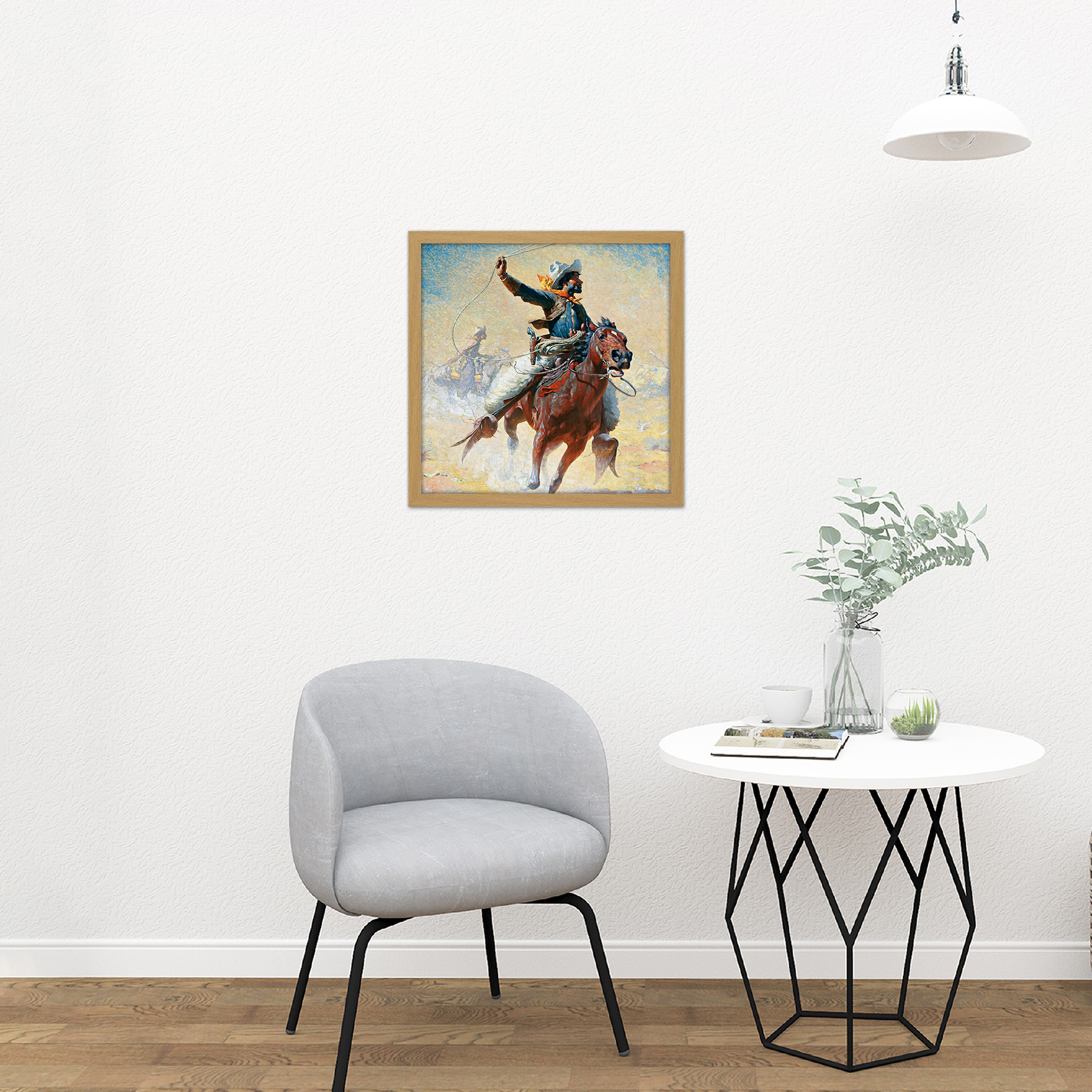 Leigh-The-Roping-Cowboy-Lasso-Horse-Painting-Square-Framed-Wall-Art-16X16-In thumbnail 11