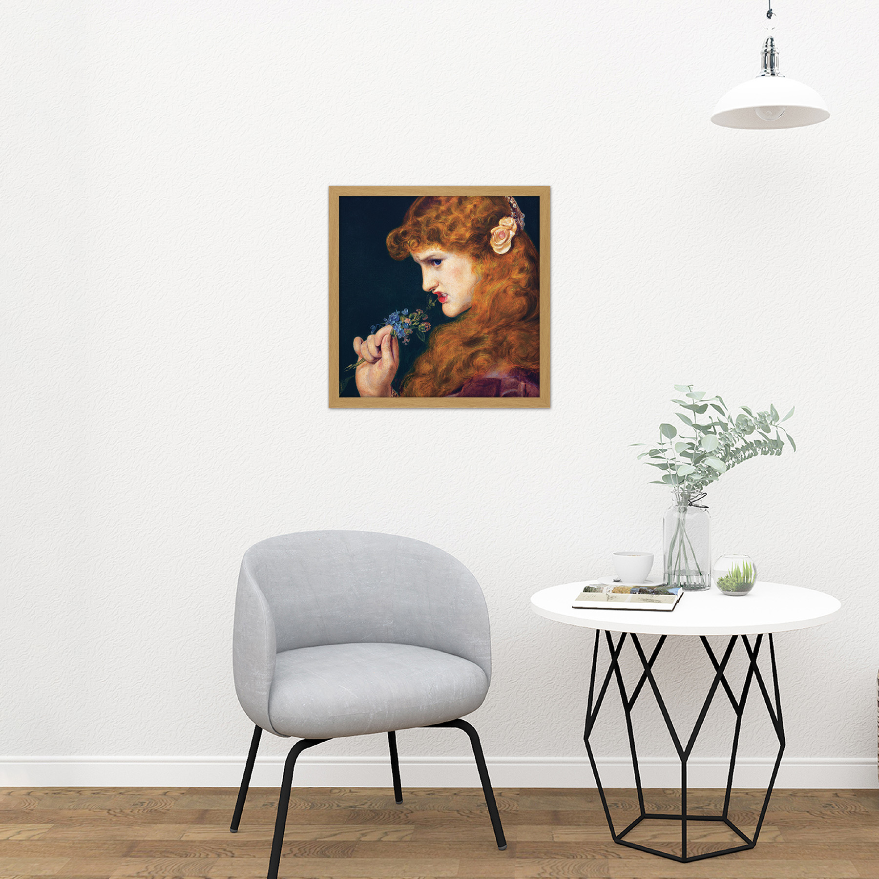 Sandys Loves Shadow Girl Bite Flower Painting XL Wall Art Canvas Print