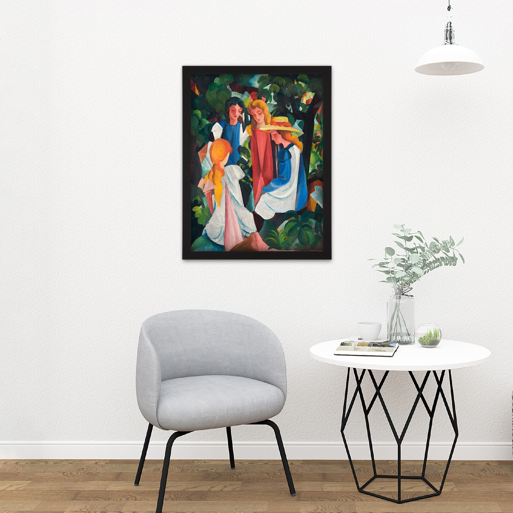 August-Macke-Four-Girls-Large-Framed-Art-Print thumbnail 8