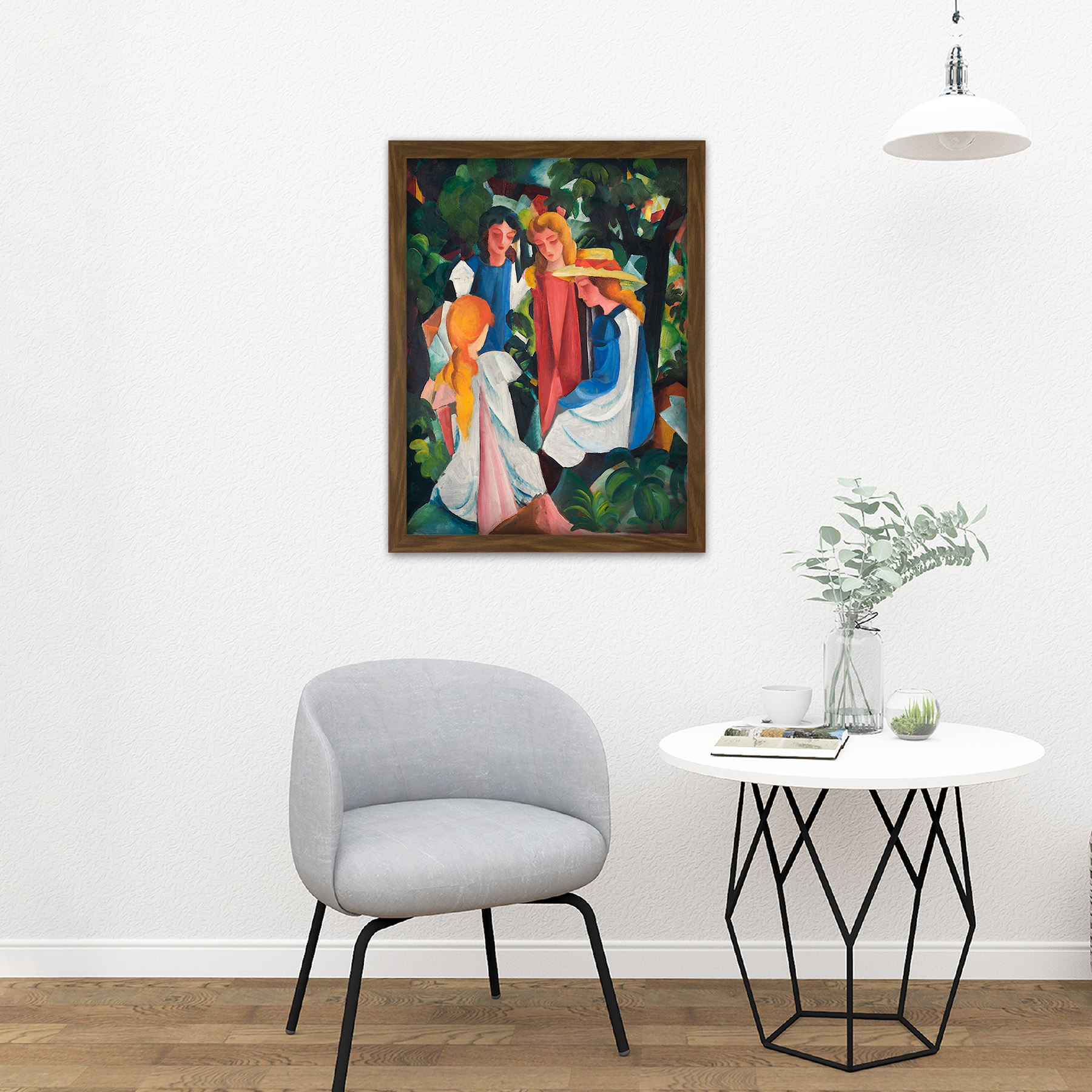 August-Macke-Four-Girls-Large-Framed-Art-Print thumbnail 13