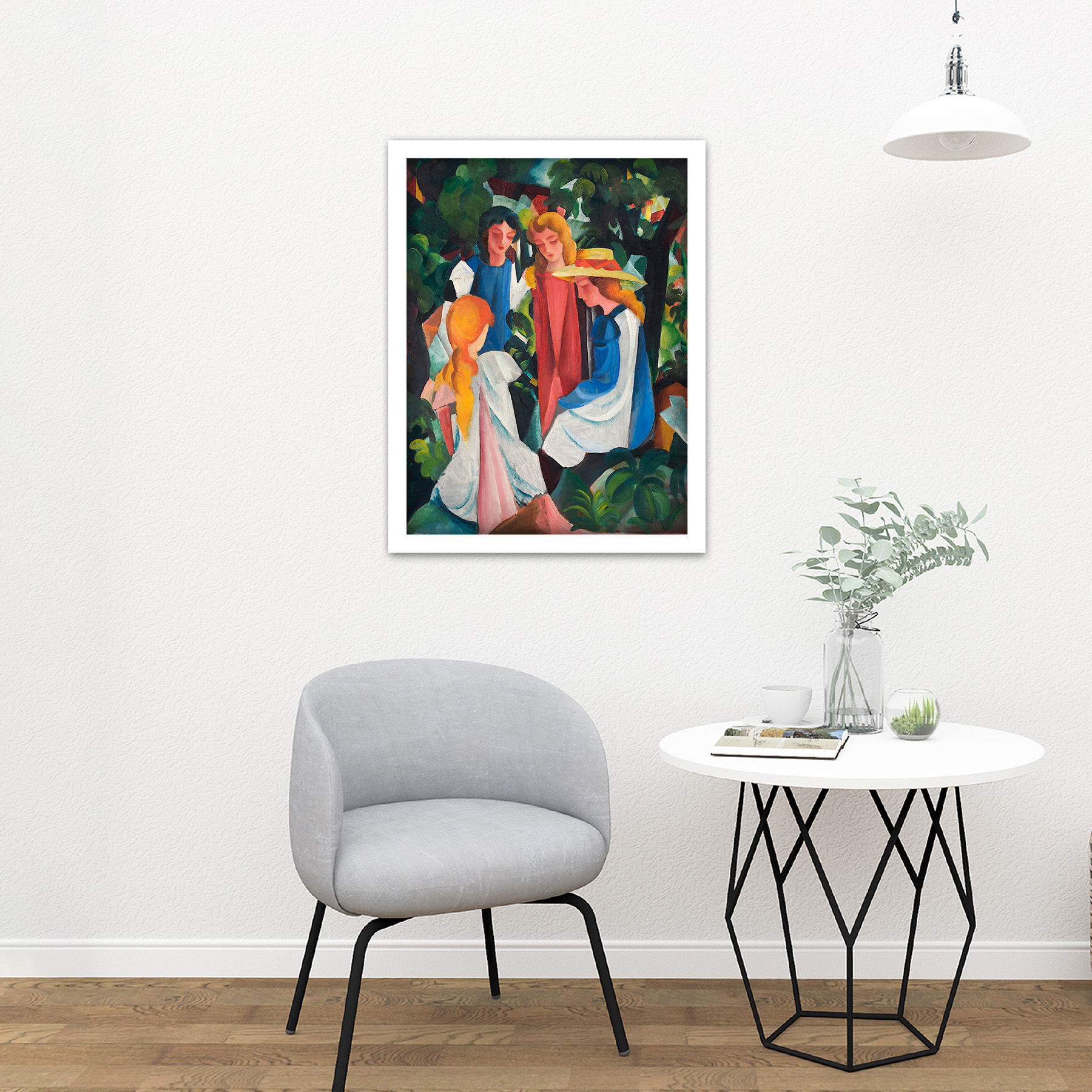 August-Macke-Four-Girls-Large-Framed-Art-Print thumbnail 23