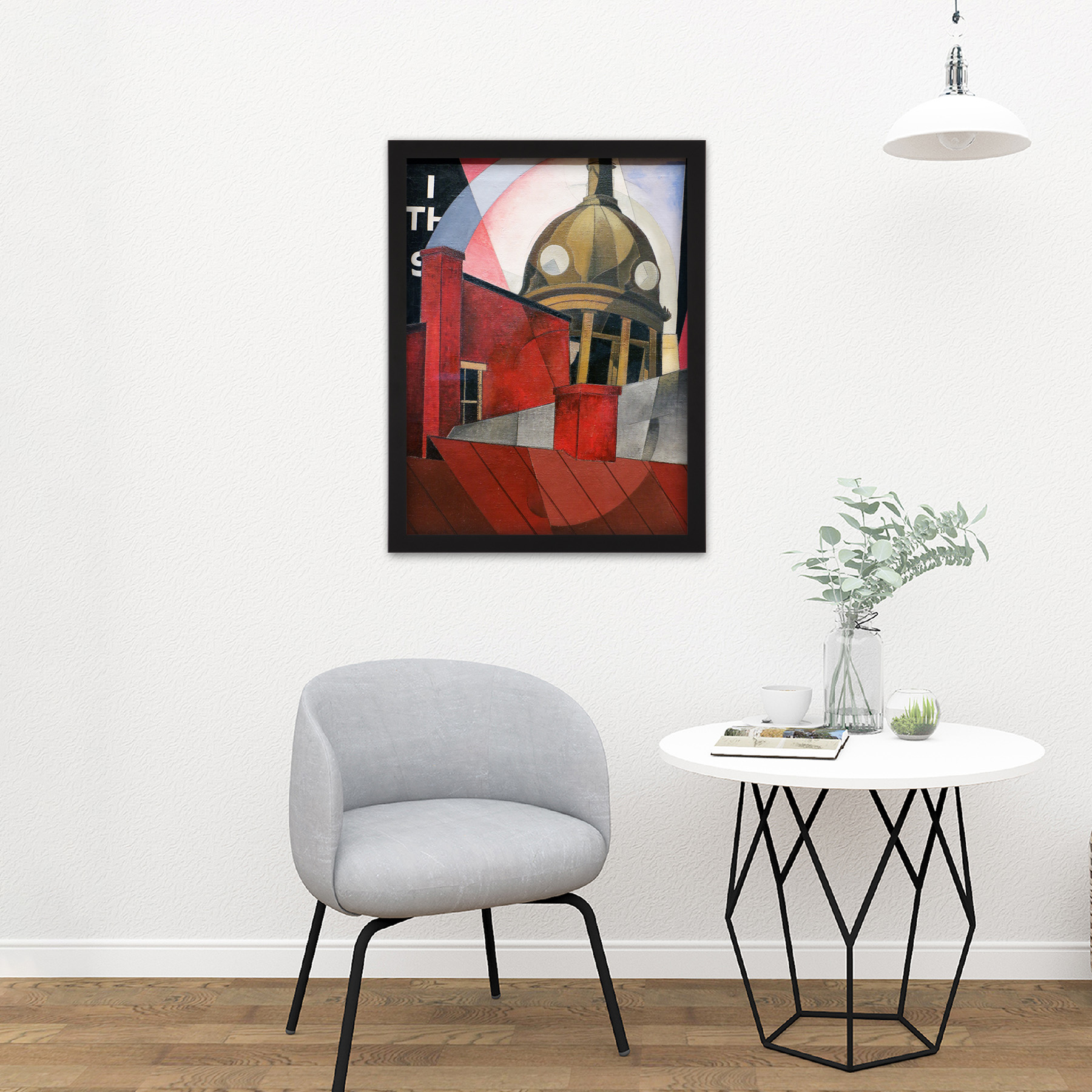 Demuth-Welcome-City-Red-Tower-Painting-Large-Framed-Art-Print thumbnail 8