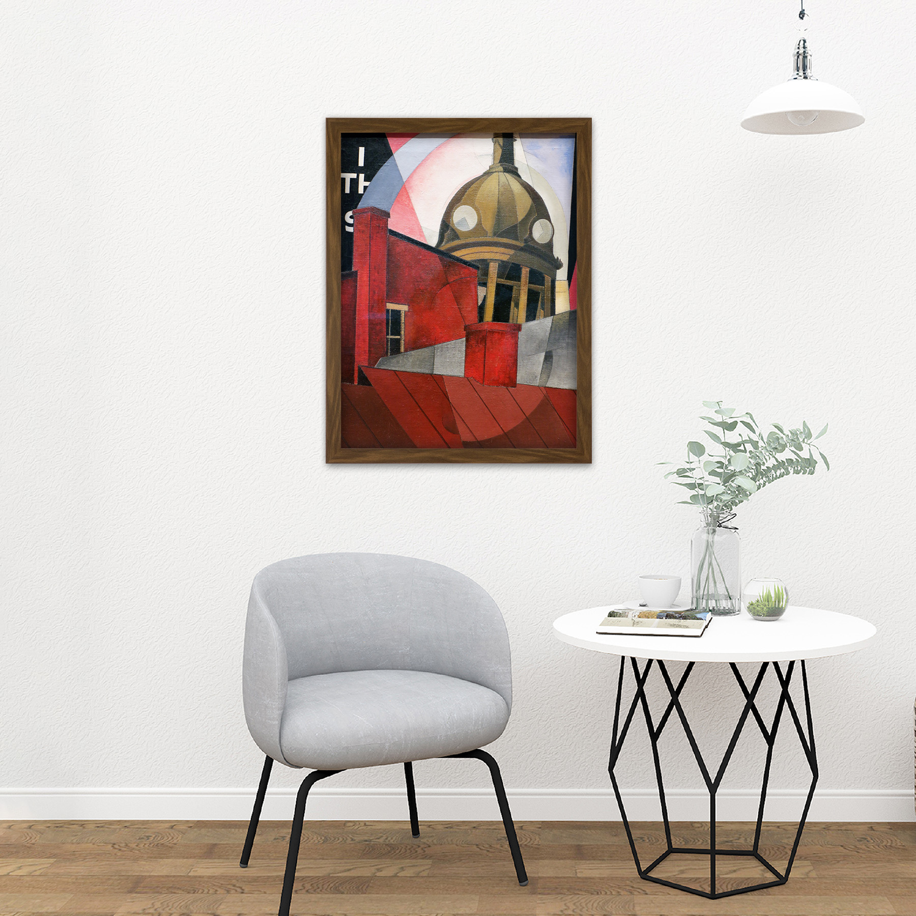 Demuth-Welcome-City-Red-Tower-Painting-Large-Framed-Art-Print thumbnail 13