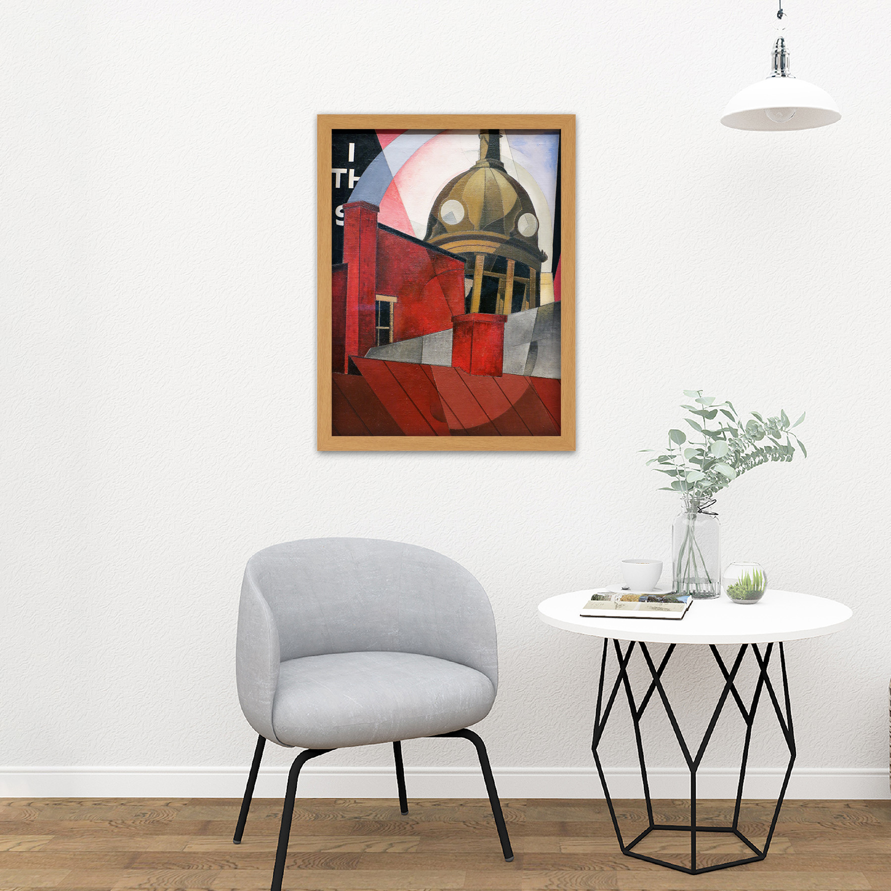 Demuth-Welcome-City-Red-Tower-Painting-Large-Framed-Art-Print thumbnail 18