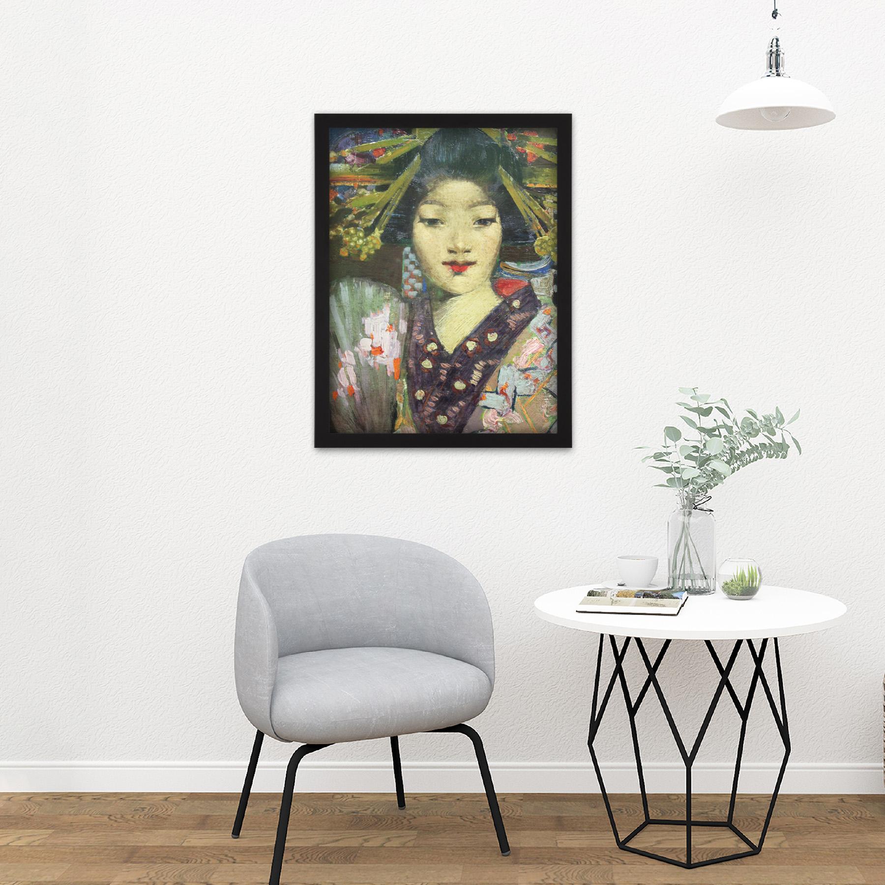 Henry-Geisha-Girl-Detail-Painting-Large-Framed-Art-Print thumbnail 8