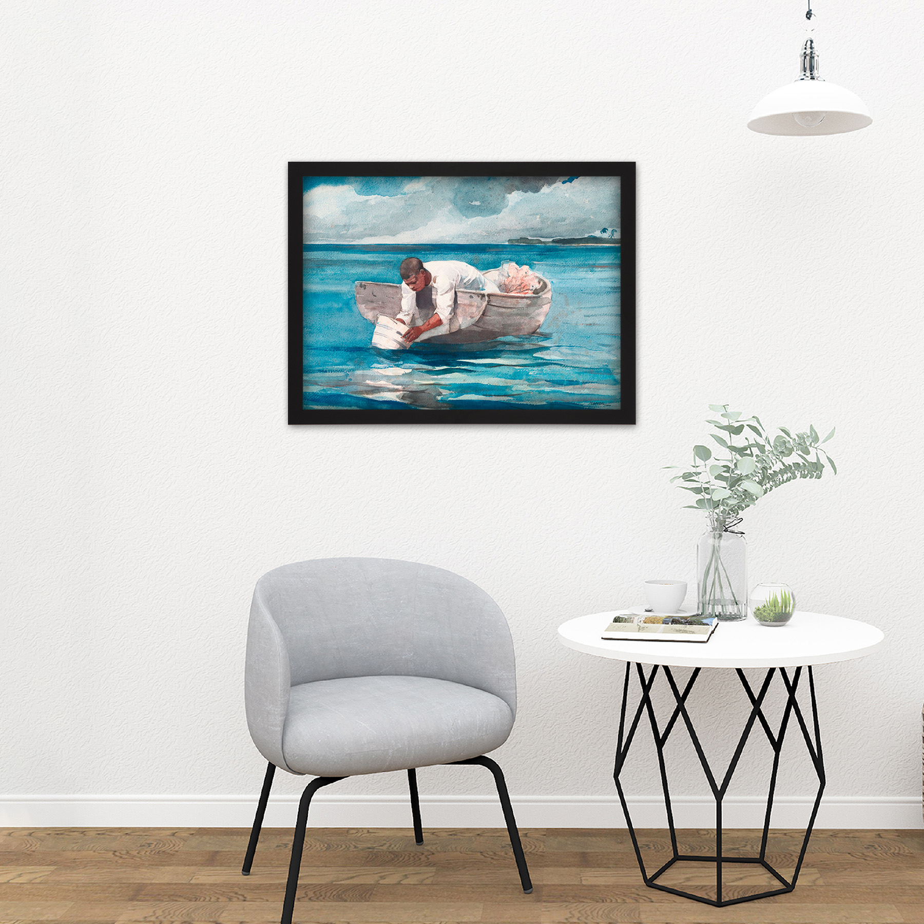 Homer-The-Water-Fan-Boat-Sea-Blue-Painting-Large-Framed-Art-Print thumbnail 8