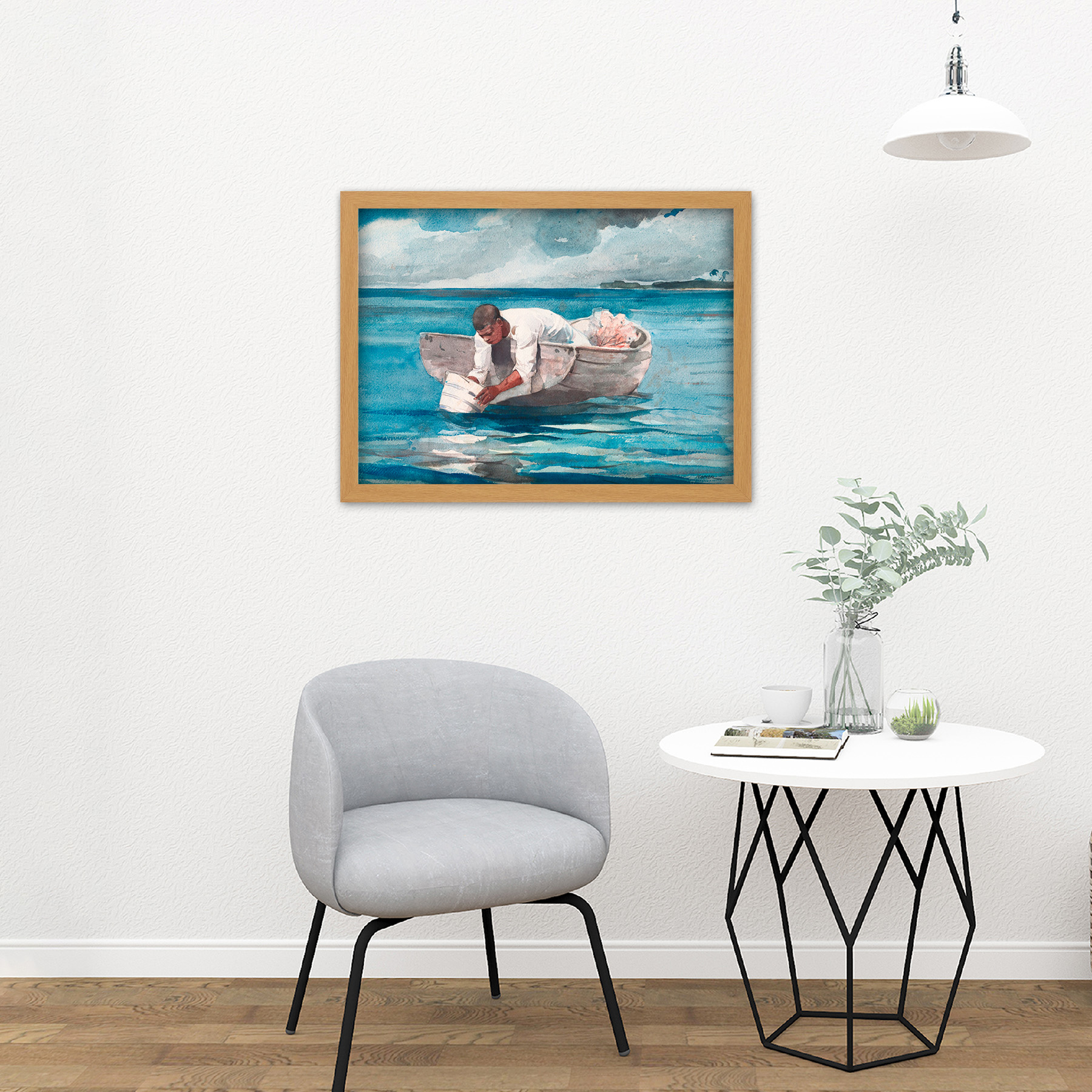 Homer-The-Water-Fan-Boat-Sea-Blue-Painting-Large-Framed-Art-Print thumbnail 18