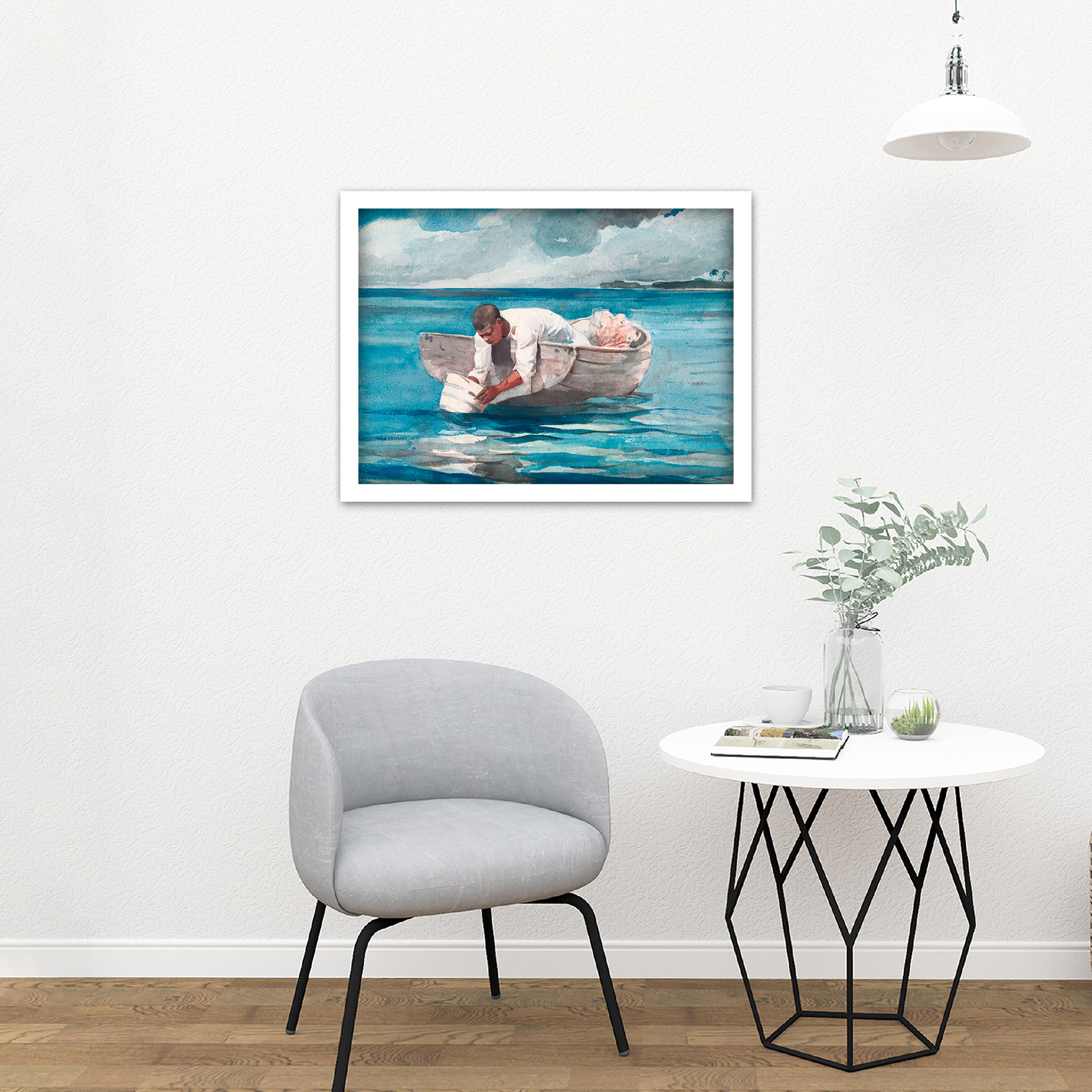 Homer-The-Water-Fan-Boat-Sea-Blue-Painting-Large-Framed-Art-Print thumbnail 23