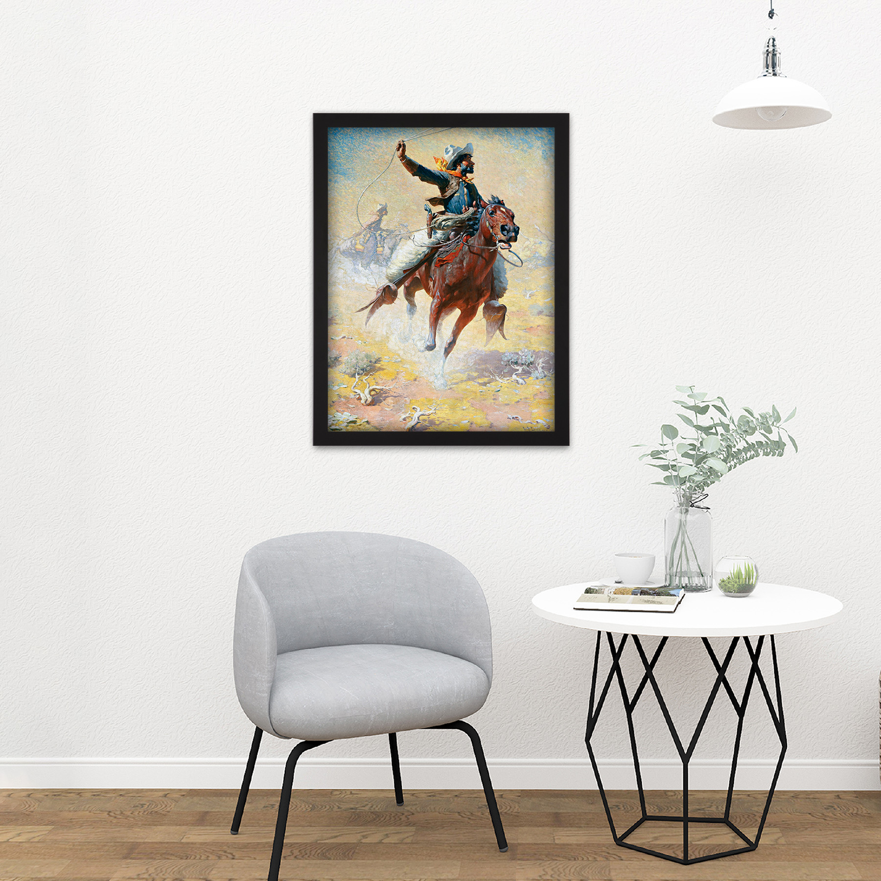 Leigh-The-Roping-Cowboy-Lasso-Horse-Painting-Large-Framed-Art-Print thumbnail 8