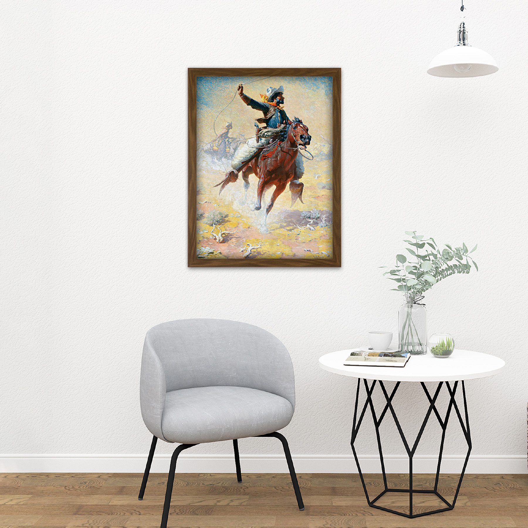 Leigh-The-Roping-Cowboy-Lasso-Horse-Painting-Large-Framed-Art-Print thumbnail 13
