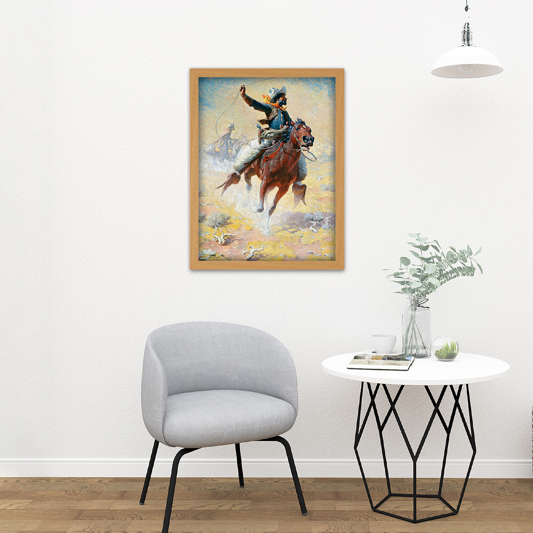 Leigh-The-Roping-Cowboy-Lasso-Horse-Painting-Large-Framed-Art-Print thumbnail 18