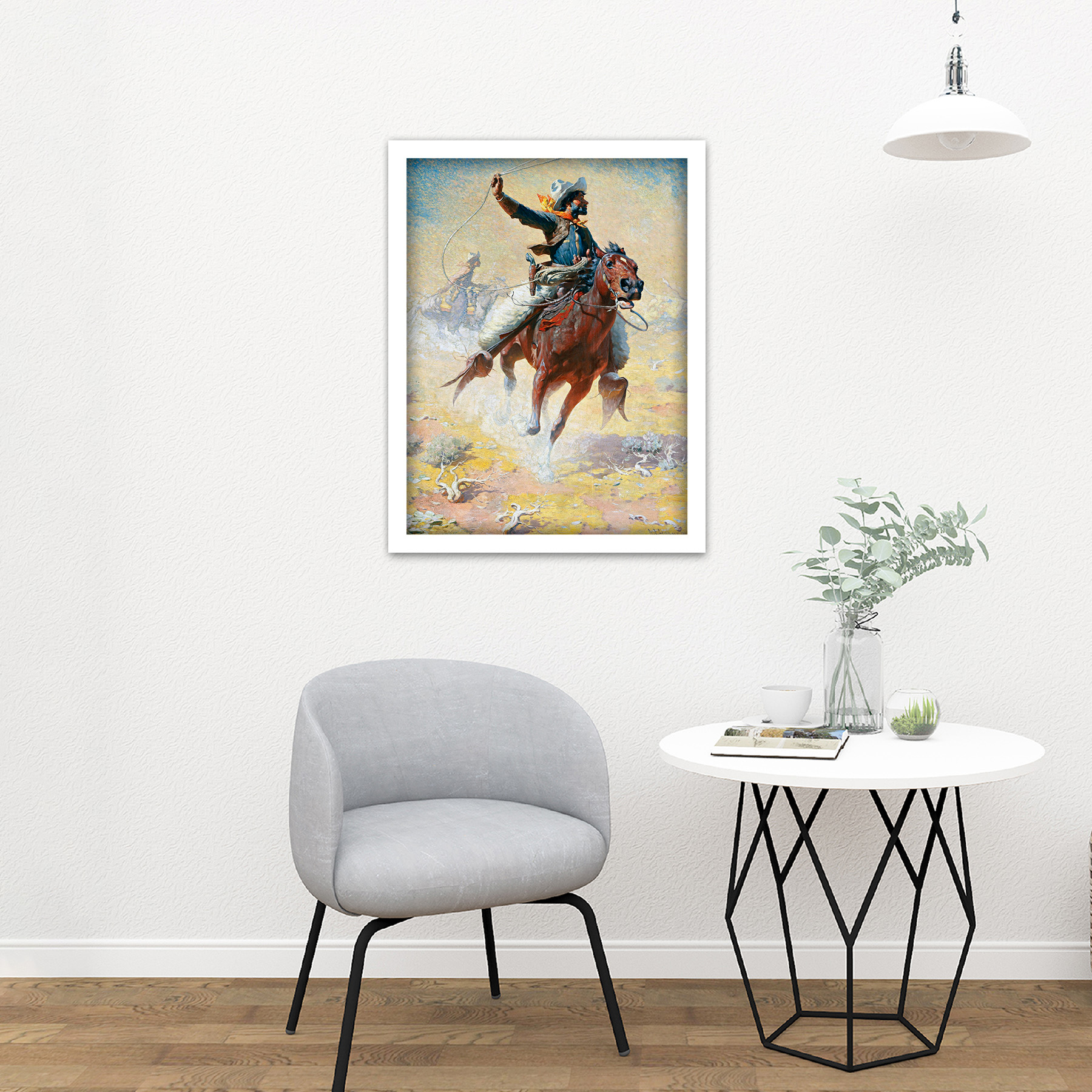 Leigh-The-Roping-Cowboy-Lasso-Horse-Painting-Large-Framed-Art-Print thumbnail 23