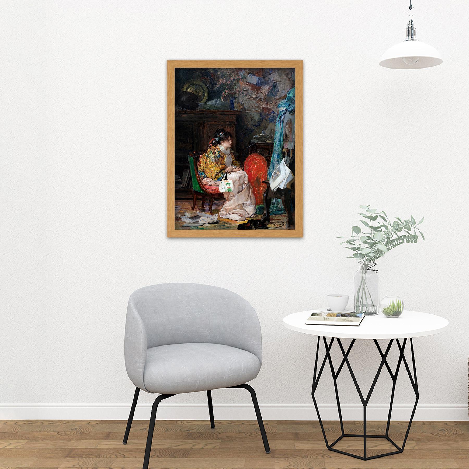 Palmaroli-In-The-Study-Woman-Painting-Large-Framed-Art-Print thumbnail 18