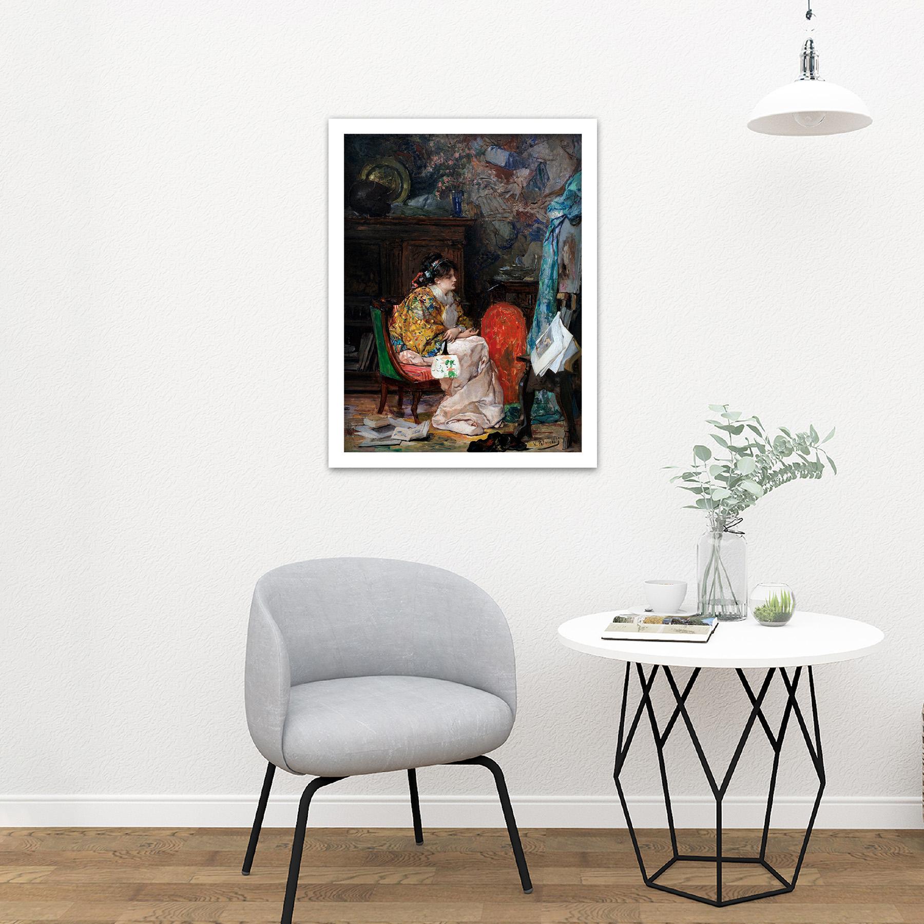 Palmaroli-In-The-Study-Woman-Painting-Large-Framed-Art-Print thumbnail 23