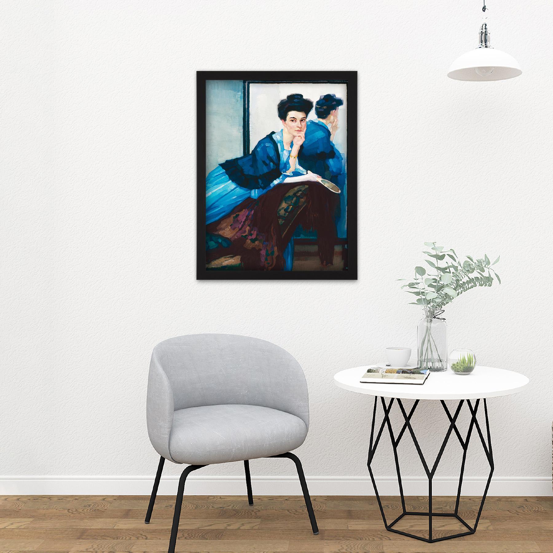 Putz-Woman-In-Blue-Dress-Painting-Large-Framed-Art-Print thumbnail 8