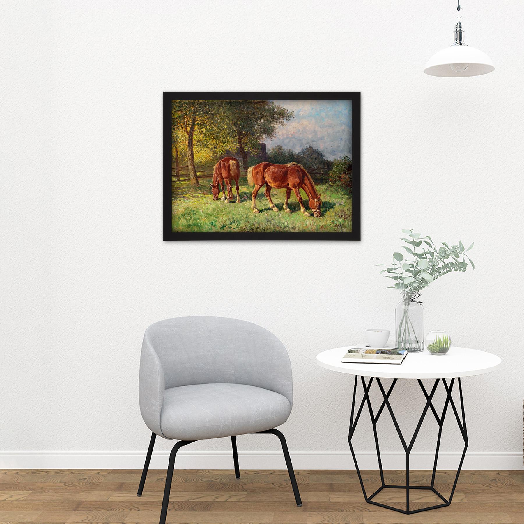 Van-Der-Venne-Horses-In-Pasture-Painting-Large-Framed-Art-Print thumbnail 8