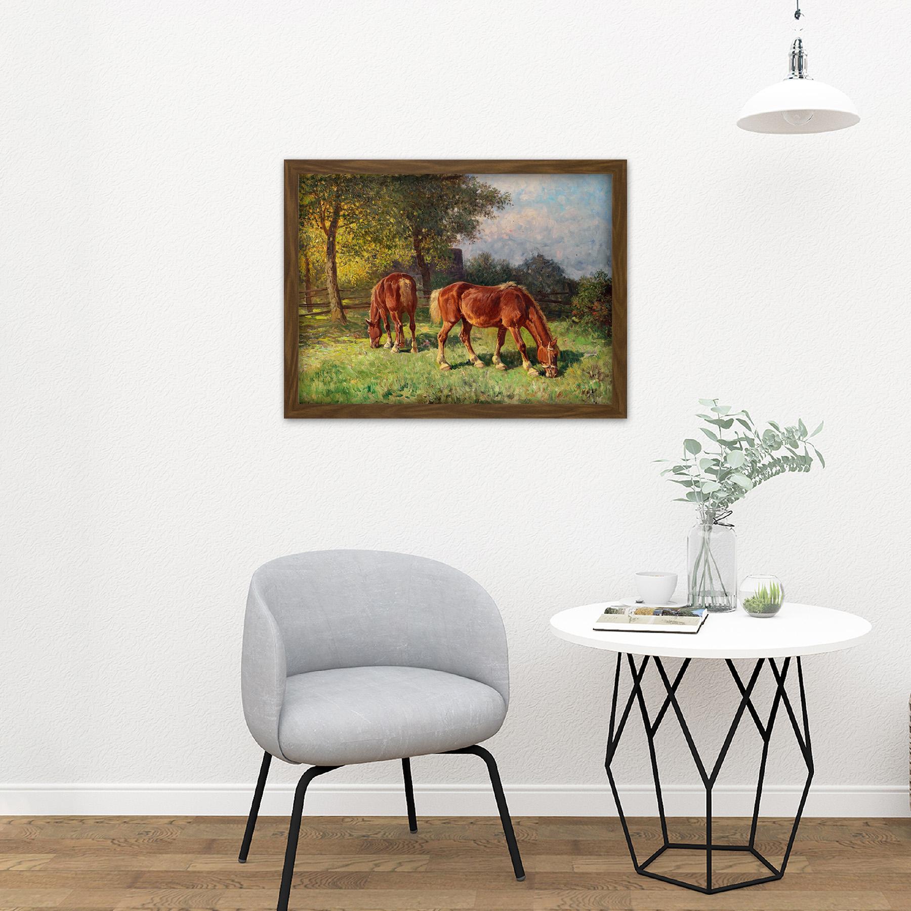 Van-Der-Venne-Horses-In-Pasture-Painting-Large-Framed-Art-Print thumbnail 13