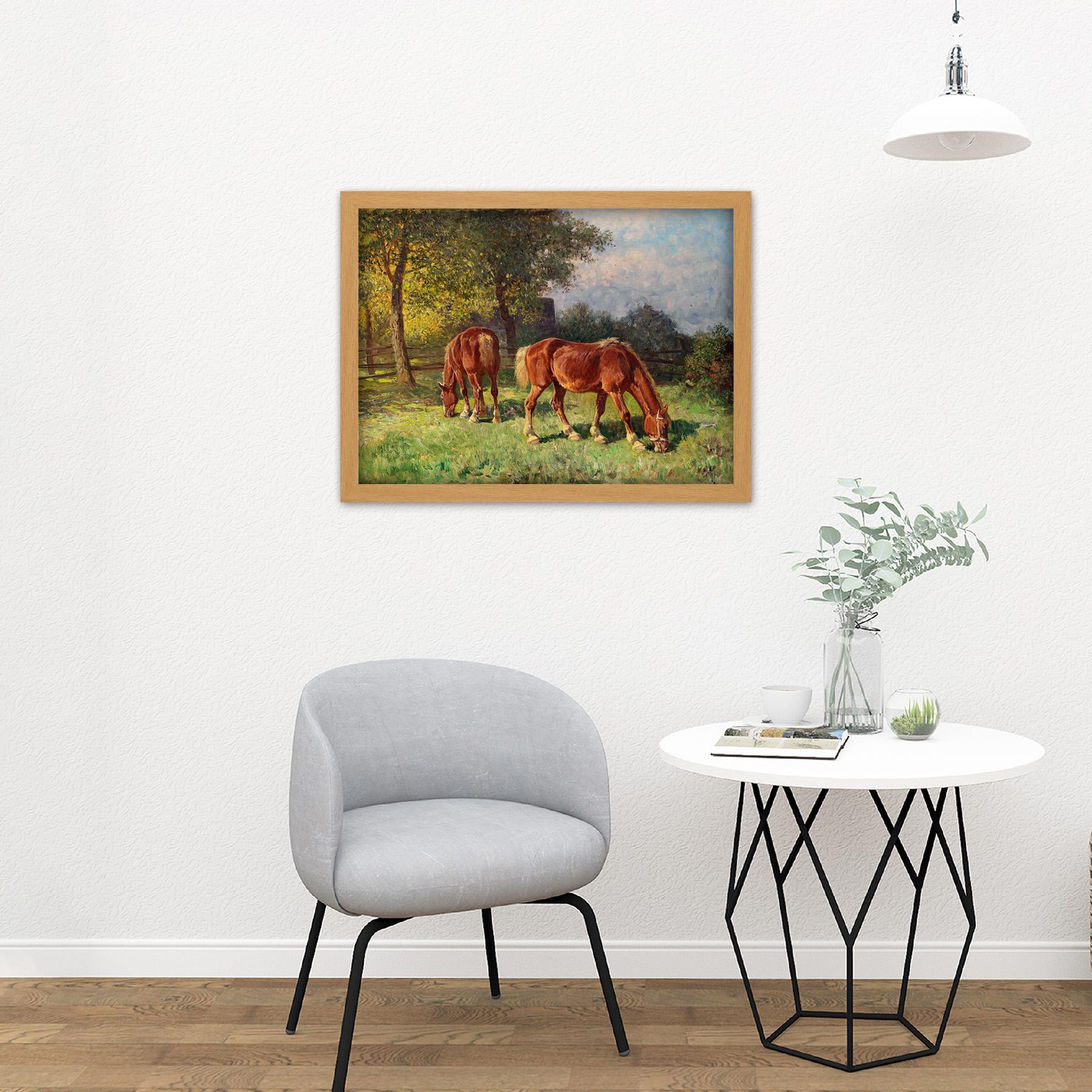 Van-Der-Venne-Horses-In-Pasture-Painting-Large-Framed-Art-Print thumbnail 18