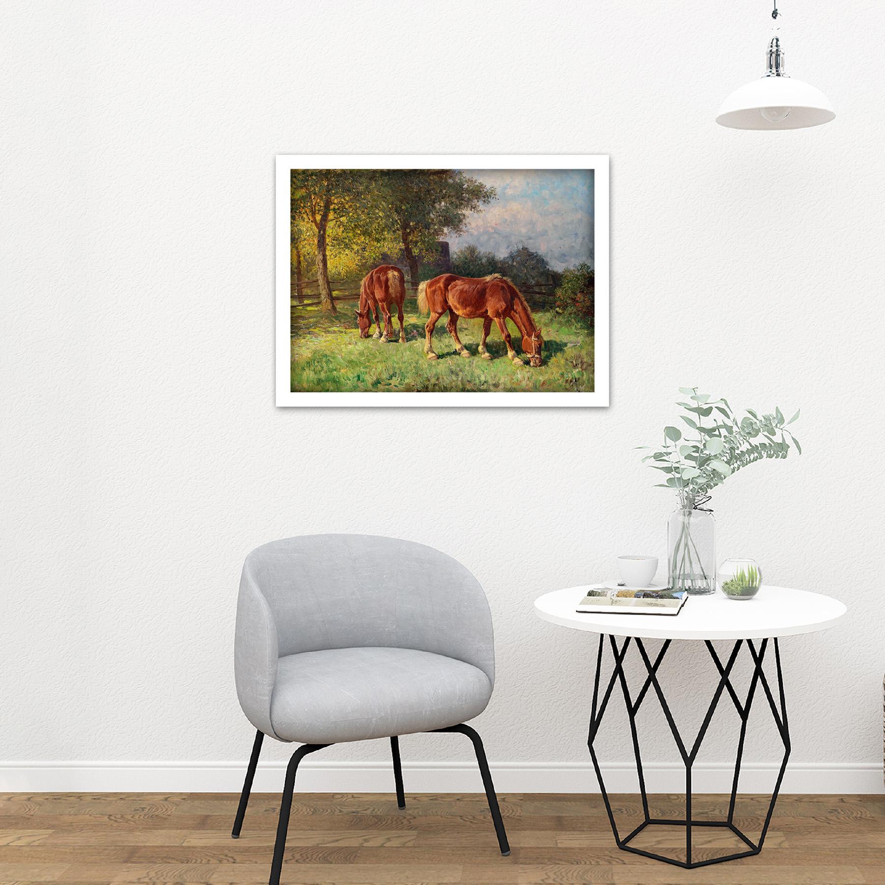 Van-Der-Venne-Horses-In-Pasture-Painting-Large-Framed-Art-Print thumbnail 23