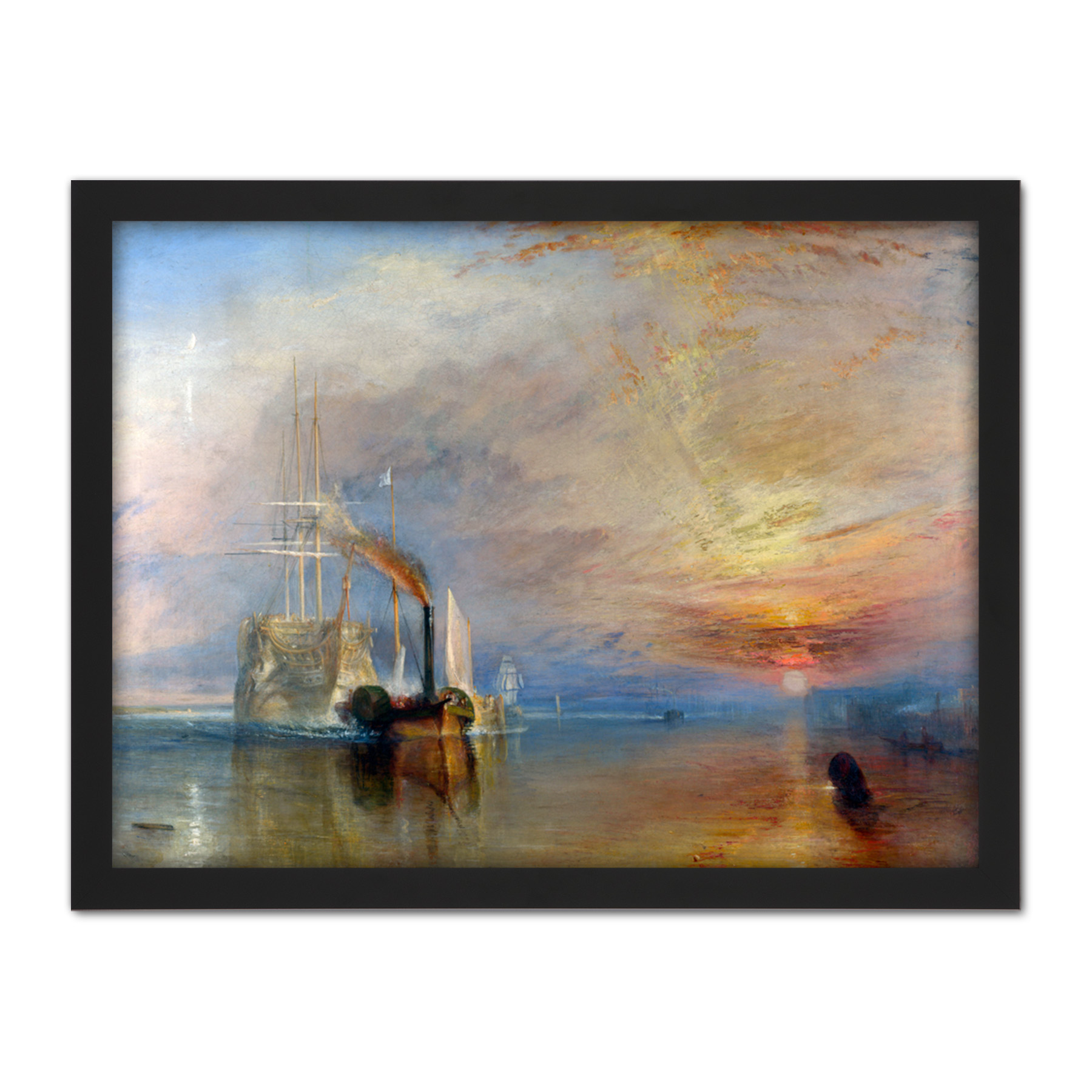 Turner-The-Fighting-Temeraire-Ship-Painting-Framed-Wall-Art-Print-18X24-In thumbnail 3