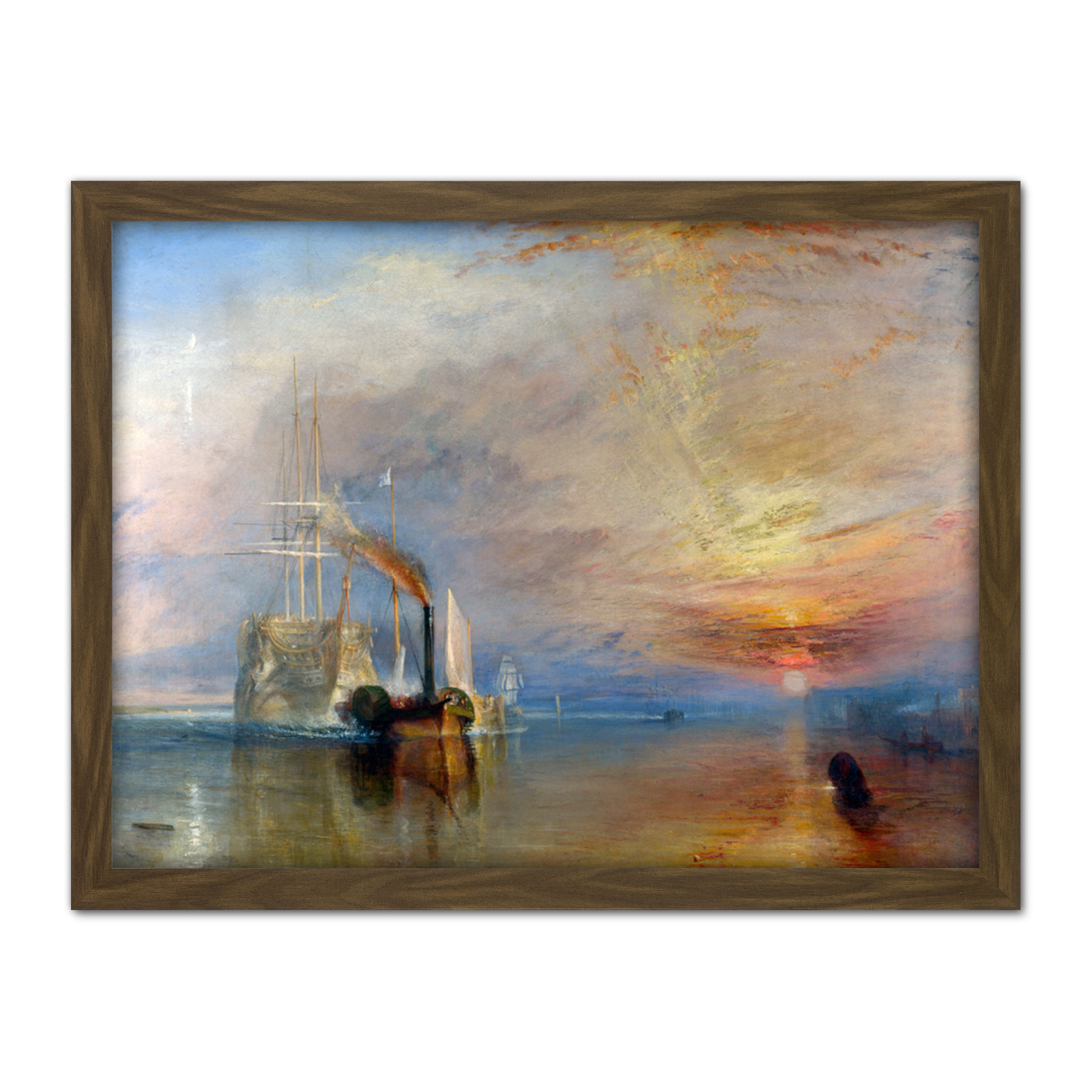 Turner-The-Fighting-Temeraire-Ship-Painting-Framed-Wall-Art-Print-18X24-In thumbnail 9