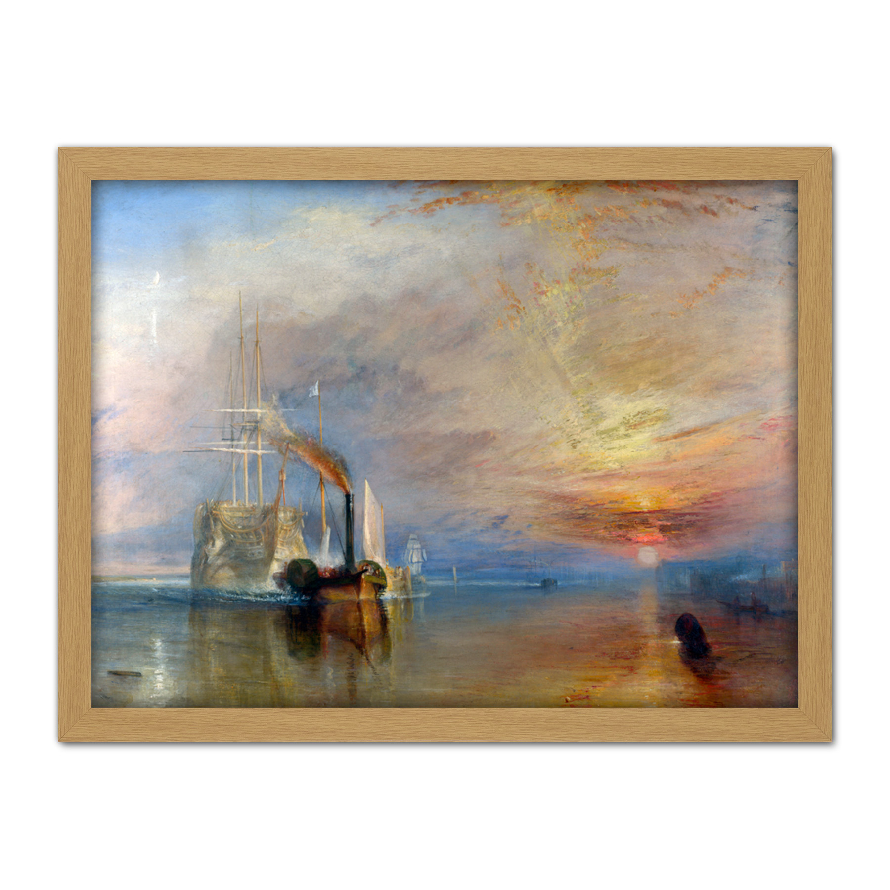 Turner-The-Fighting-Temeraire-Ship-Painting-Framed-Wall-Art-Print-18X24-In thumbnail 15