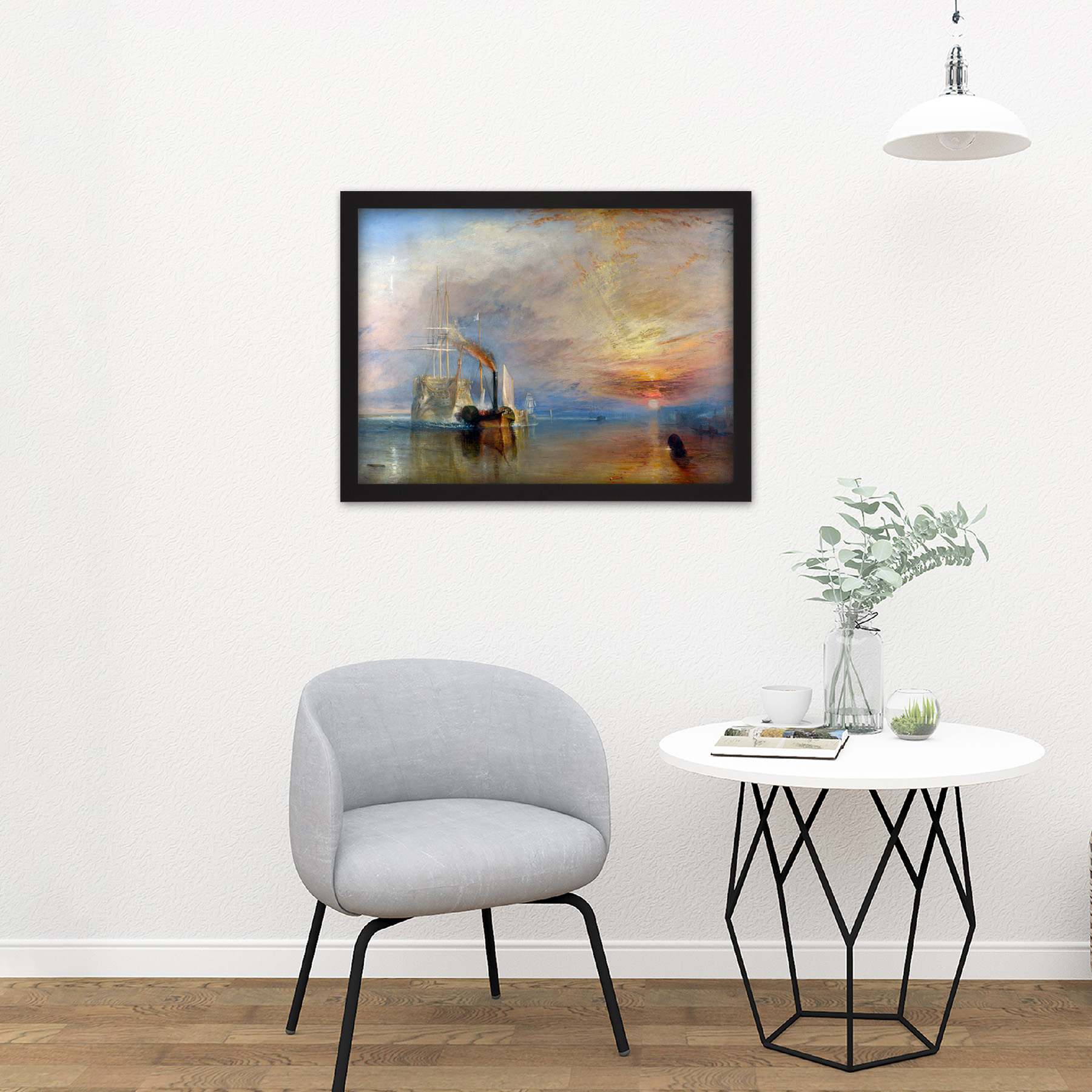Turner-The-Fighting-Temeraire-Ship-Painting-Framed-Wall-Art-Print-18X24-In thumbnail 4