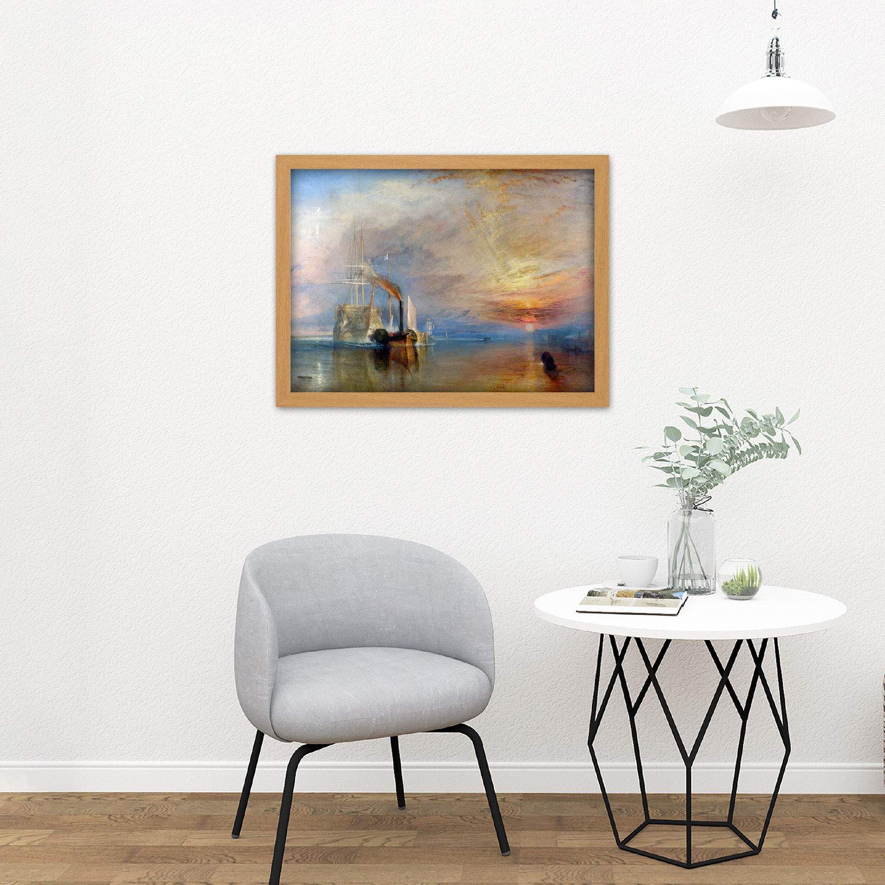 Turner-The-Fighting-Temeraire-Ship-Painting-Framed-Wall-Art-Print-18X24-In thumbnail 16