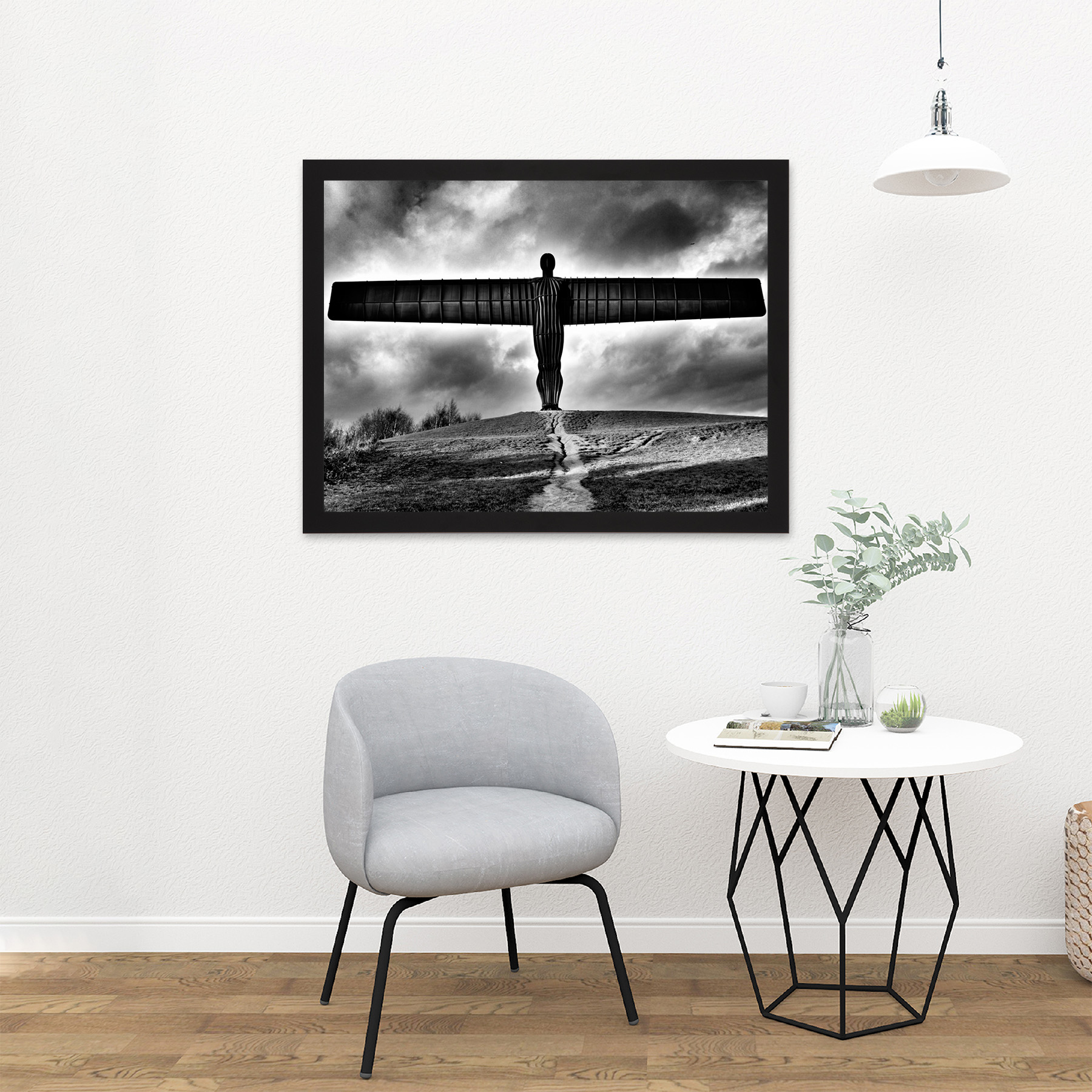 Angel Of The North Black And White Art Print Canvas Premium Wall Decor Poster