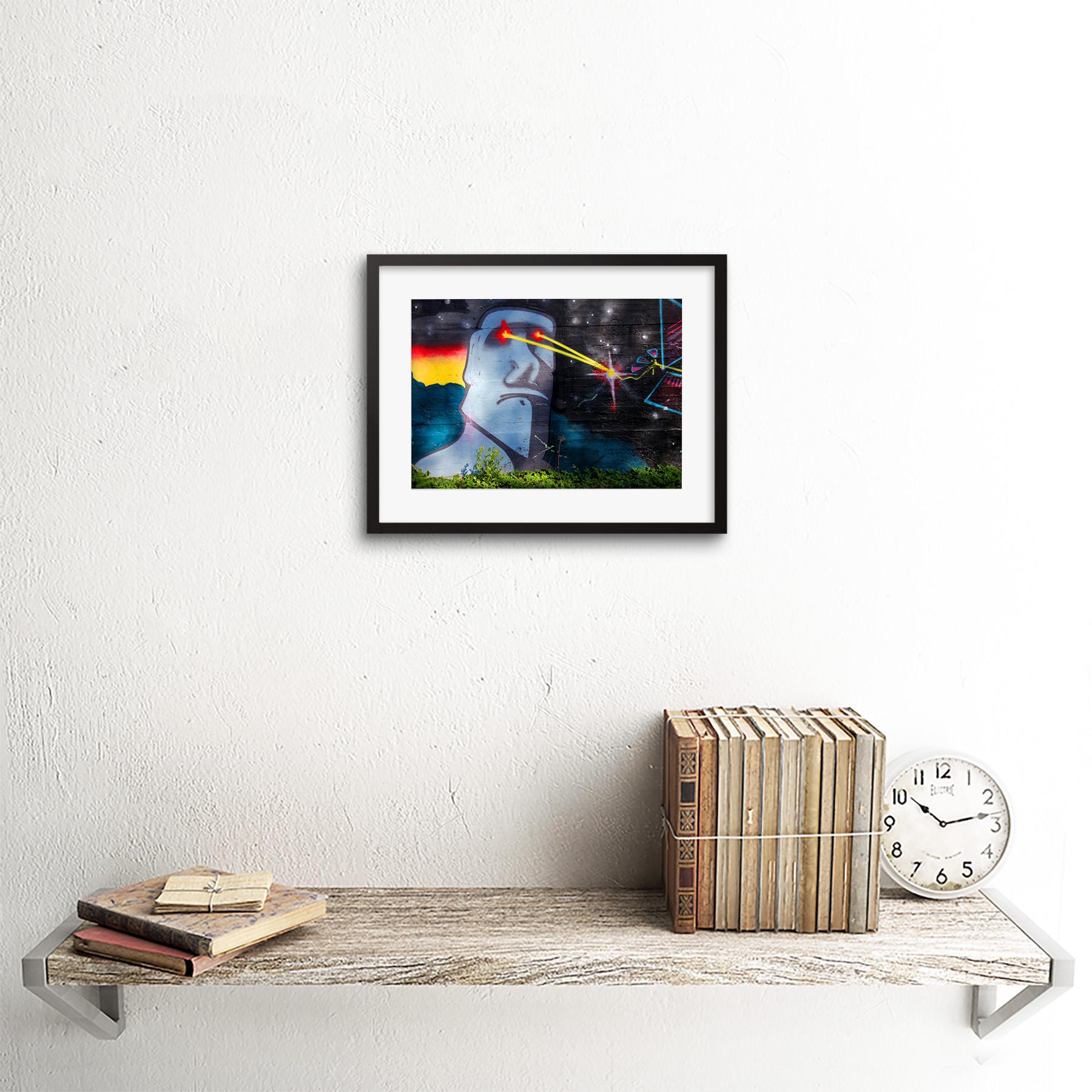 Graffiti-Easter-Island-Head-Laser-Art-Print-Framed-Poster-Wall-Decor miniature 3