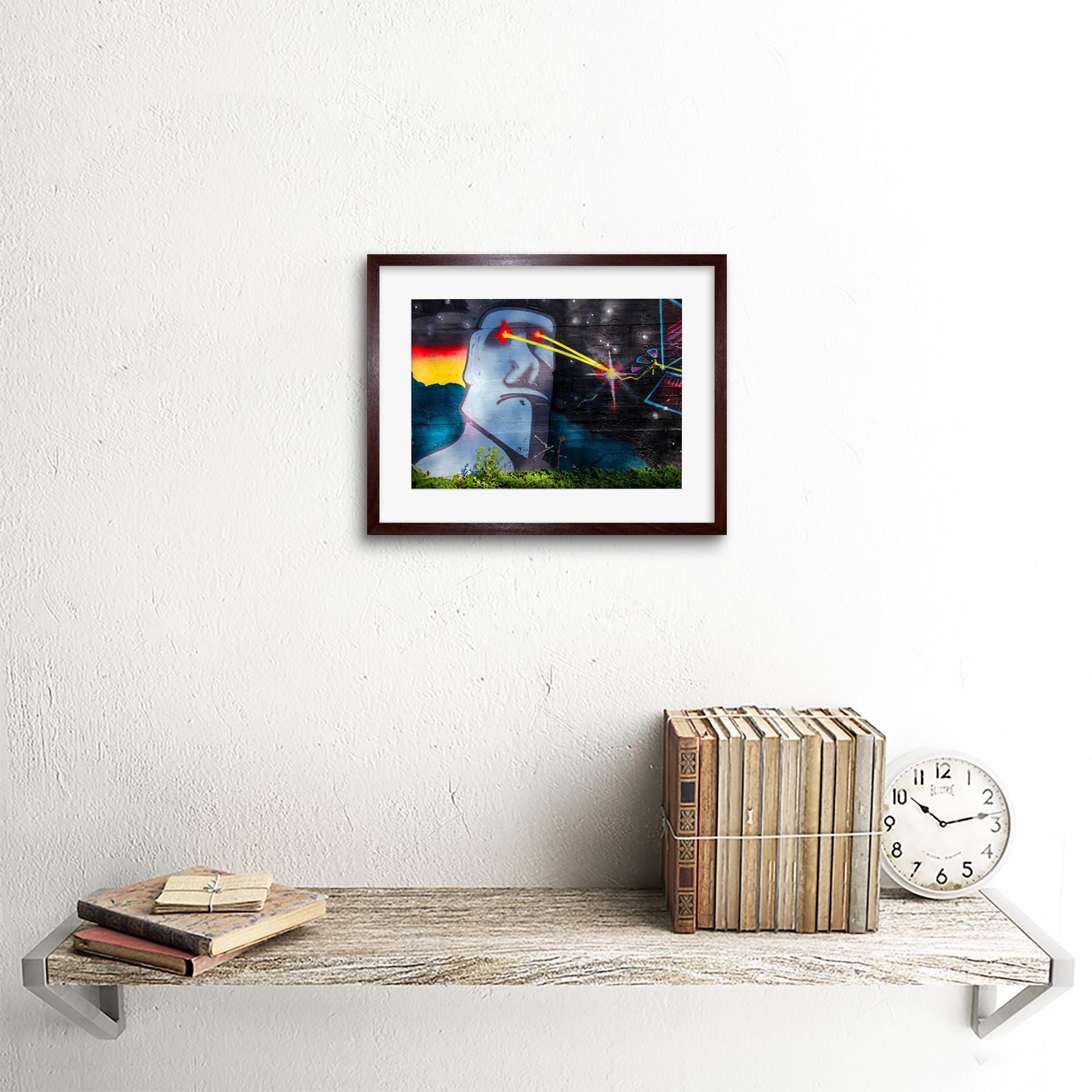 Graffiti-Easter-Island-Head-Laser-Art-Print-Framed-Poster-Wall-Decor miniature 8