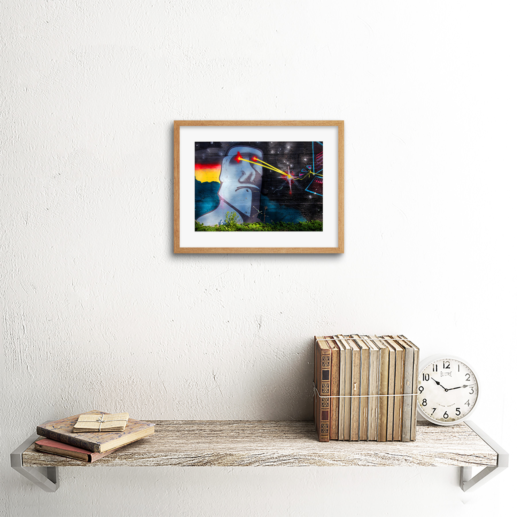 Graffiti-Easter-Island-Head-Laser-Art-Print-Framed-Poster-Wall-Decor miniature 13