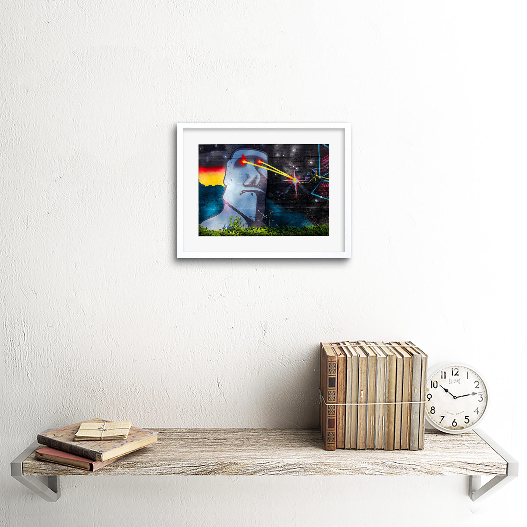 Graffiti-Easter-Island-Head-Laser-Art-Print-Framed-Poster-Wall-Decor miniature 18