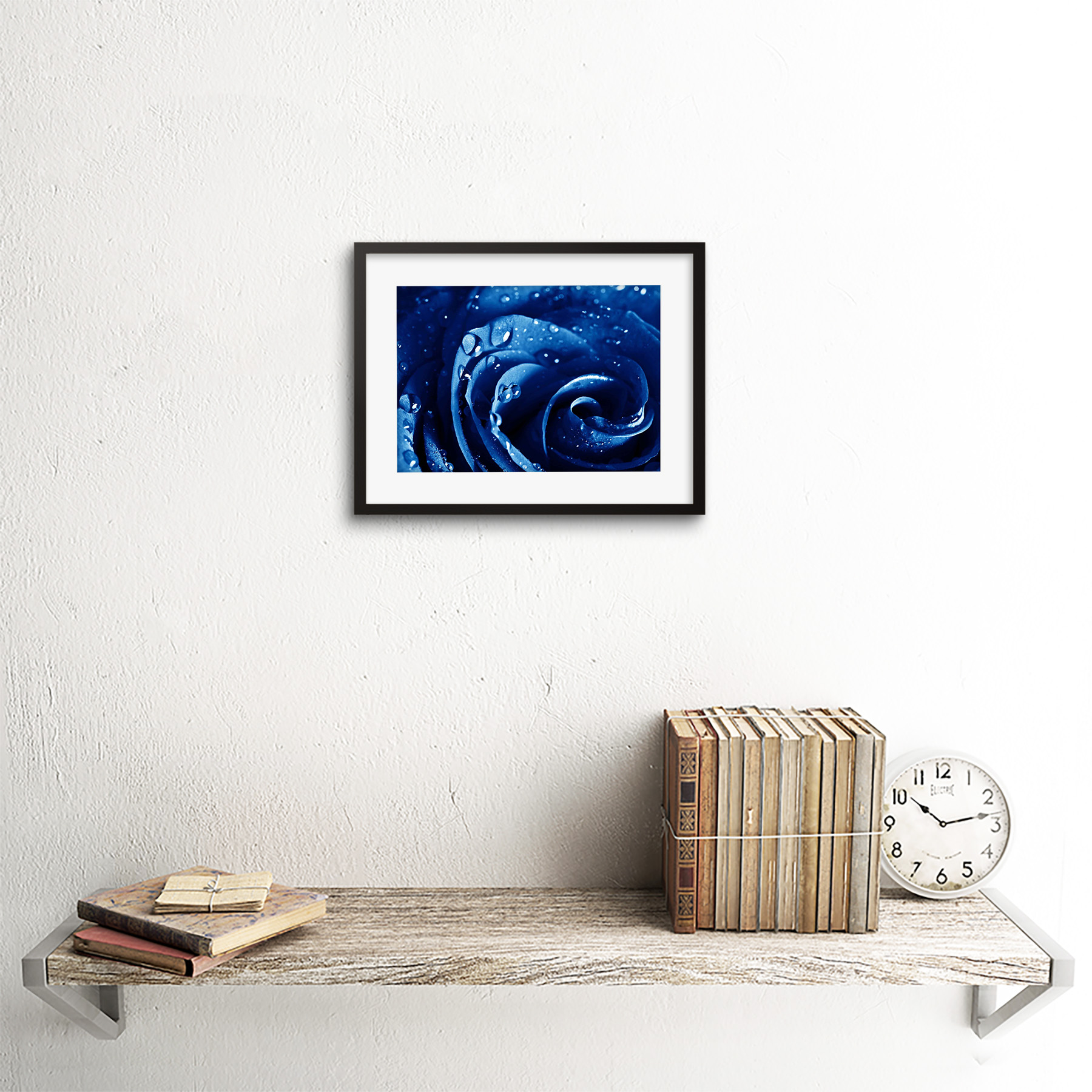 Photo-Nature-Plant-Blue-Rose-Water-Drop-Cool-Framed-Print-9x7-Inch miniatuur 3
