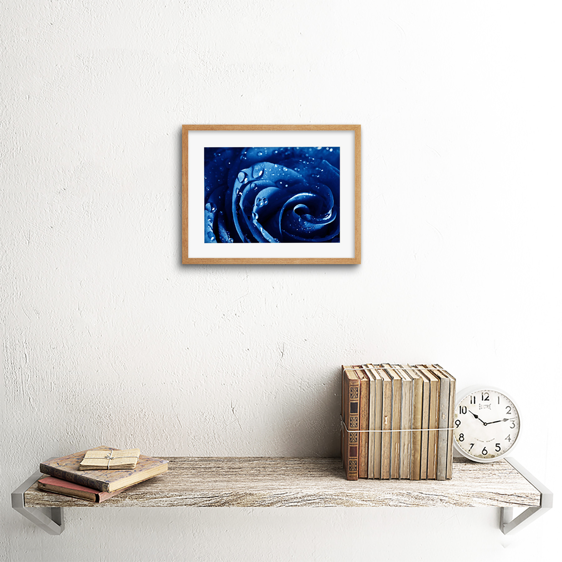 Photo-Nature-Plant-Blue-Rose-Water-Drop-Cool-Framed-Print-9x7-Inch miniatuur 13
