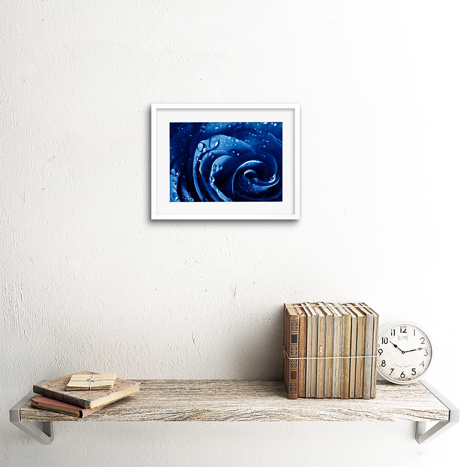 Photo-Nature-Plant-Blue-Rose-Water-Drop-Cool-Framed-Print-9x7-Inch miniatuur 18