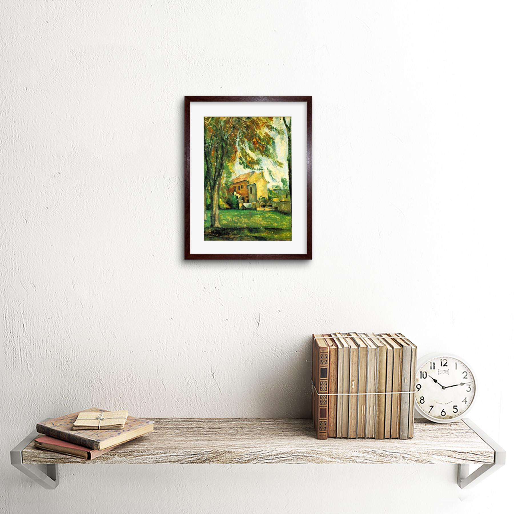 Painting-Cezanne-Pond-Jas-De-Bouffan-Winter-Framed-Picture-Art-Print-9x7-Inch miniatuur 9