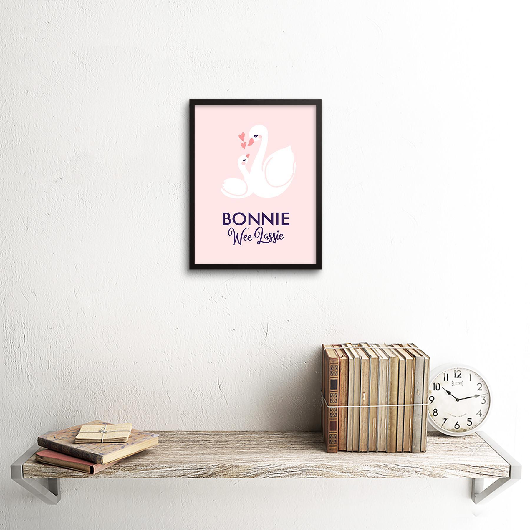 thumbnail 3 - Bonnie Wee LASSIE New Baby Girl Scottish Swan Framed Wall Art Print 9x7