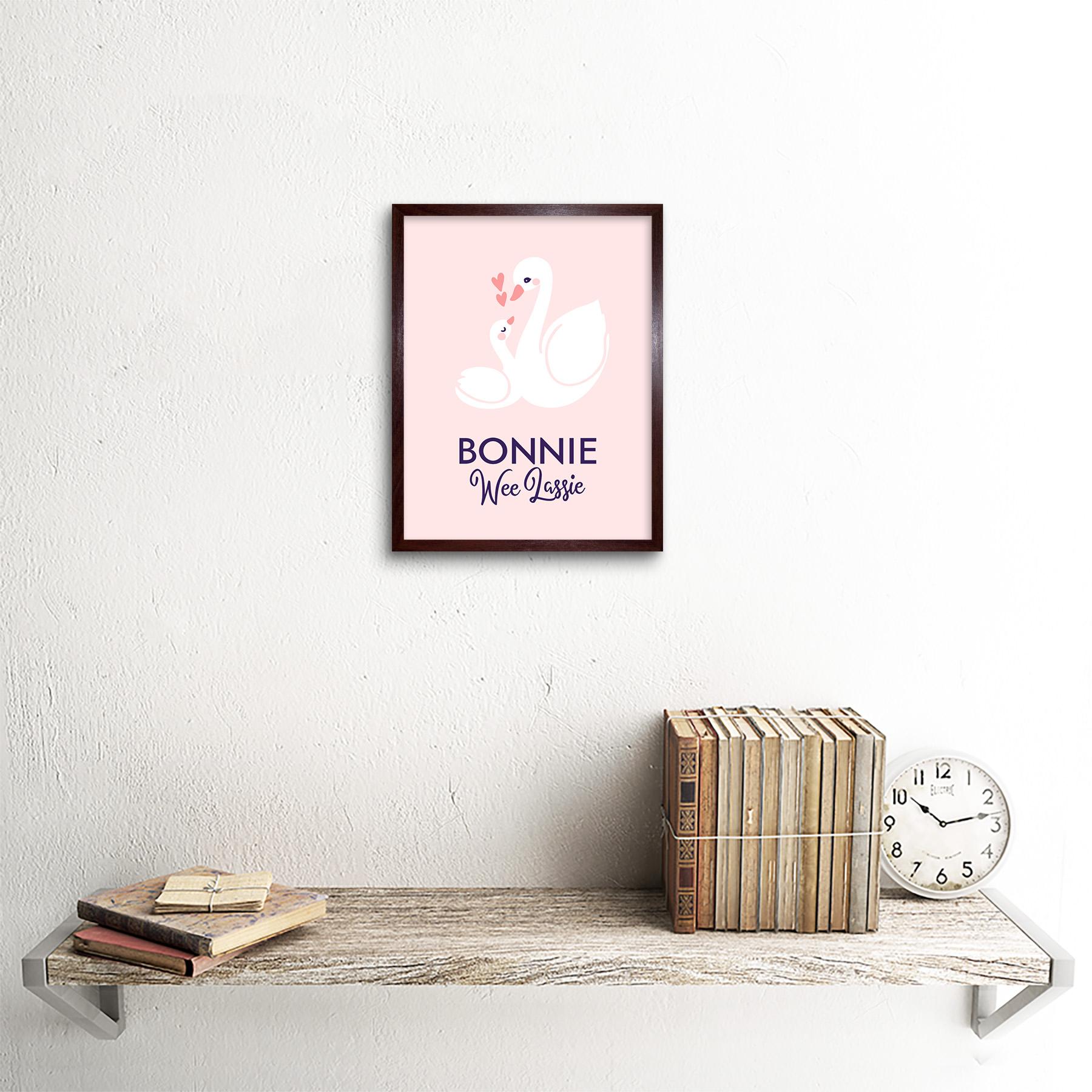 thumbnail 8 - Bonnie Wee LASSIE New Baby Girl Scottish Swan Framed Wall Art Print 9x7