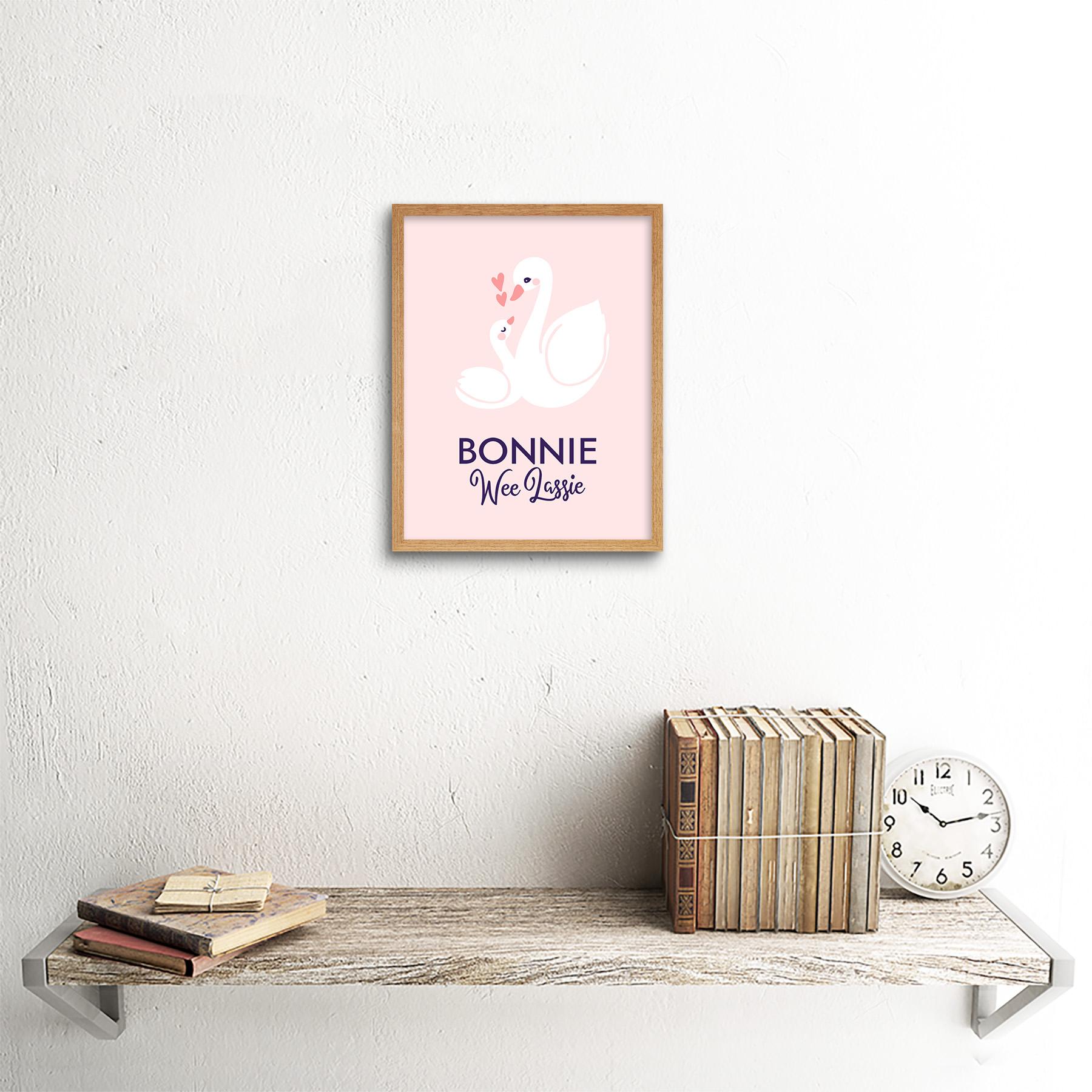 thumbnail 13 - Bonnie Wee LASSIE New Baby Girl Scottish Swan Framed Wall Art Print 9x7