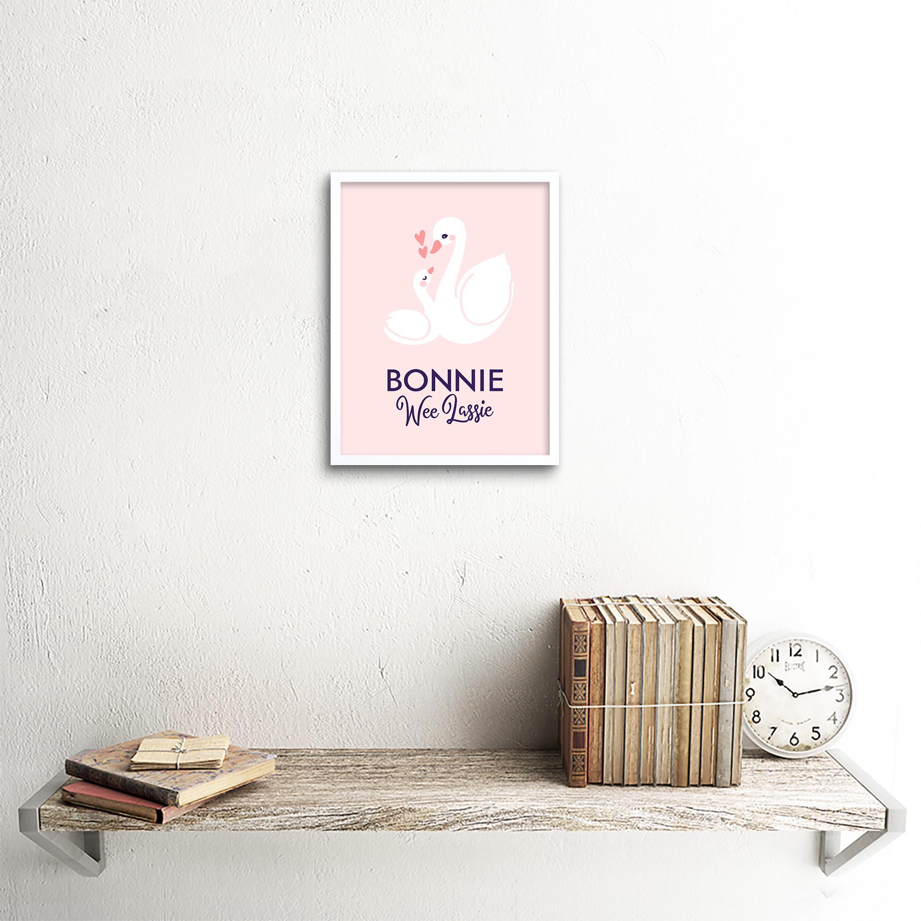 thumbnail 18 - Bonnie Wee LASSIE New Baby Girl Scottish Swan Framed Wall Art Print 9x7