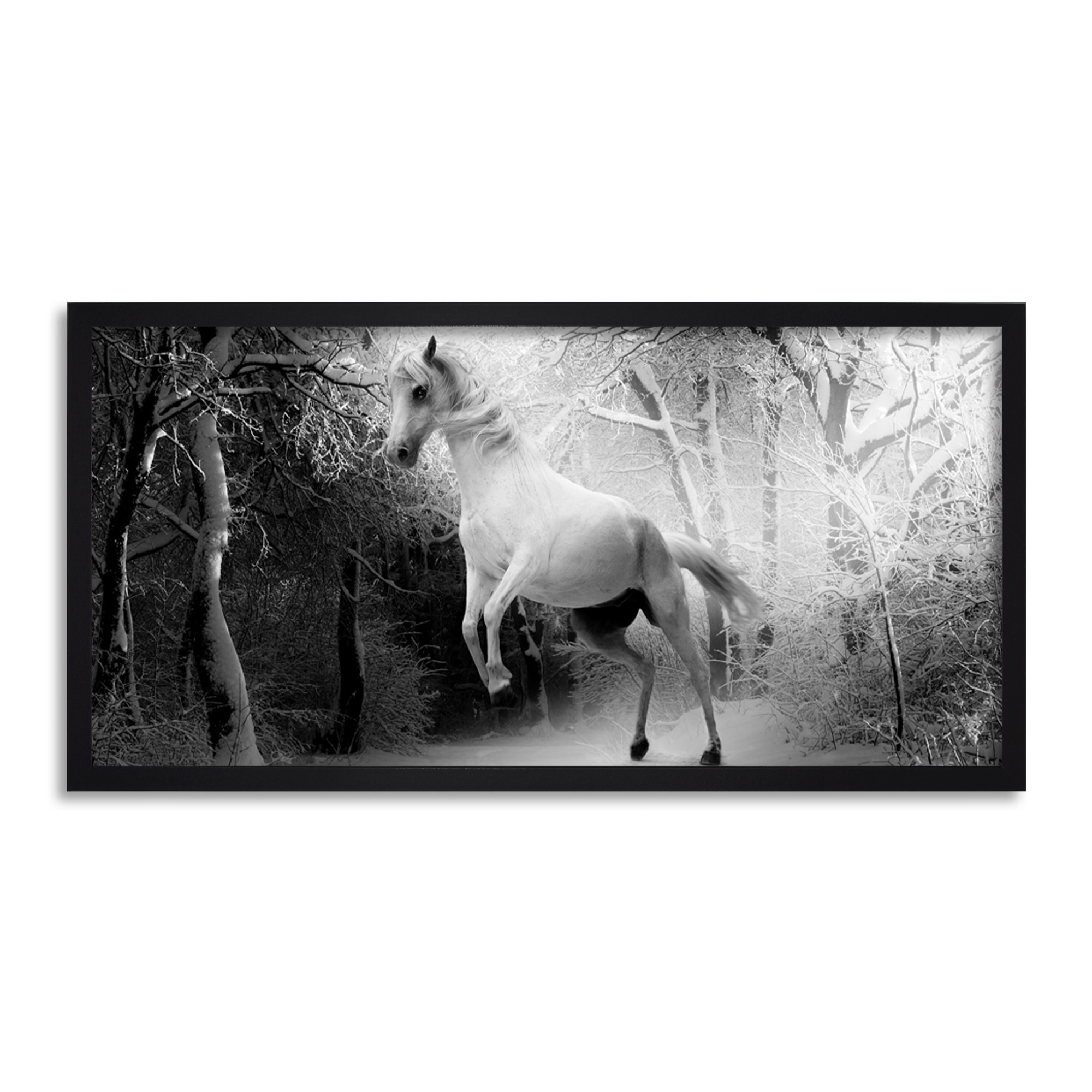 White Horse Rearing Forest Long Panel Framed Wall Art Print | eBay