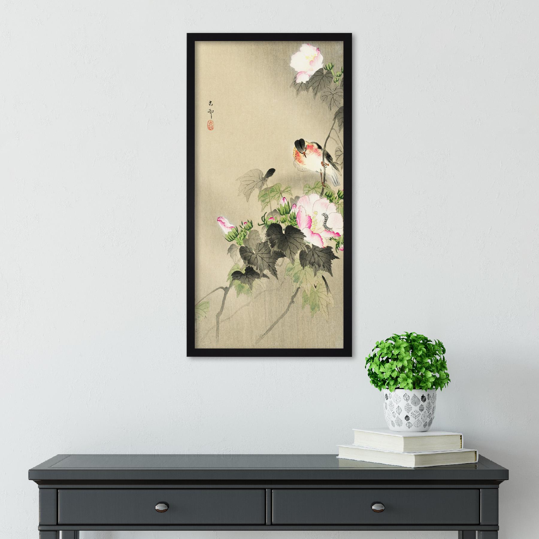 Ohara-Koson-Bird-and-caterpillar-Long-Framed-Art-Print thumbnail 3