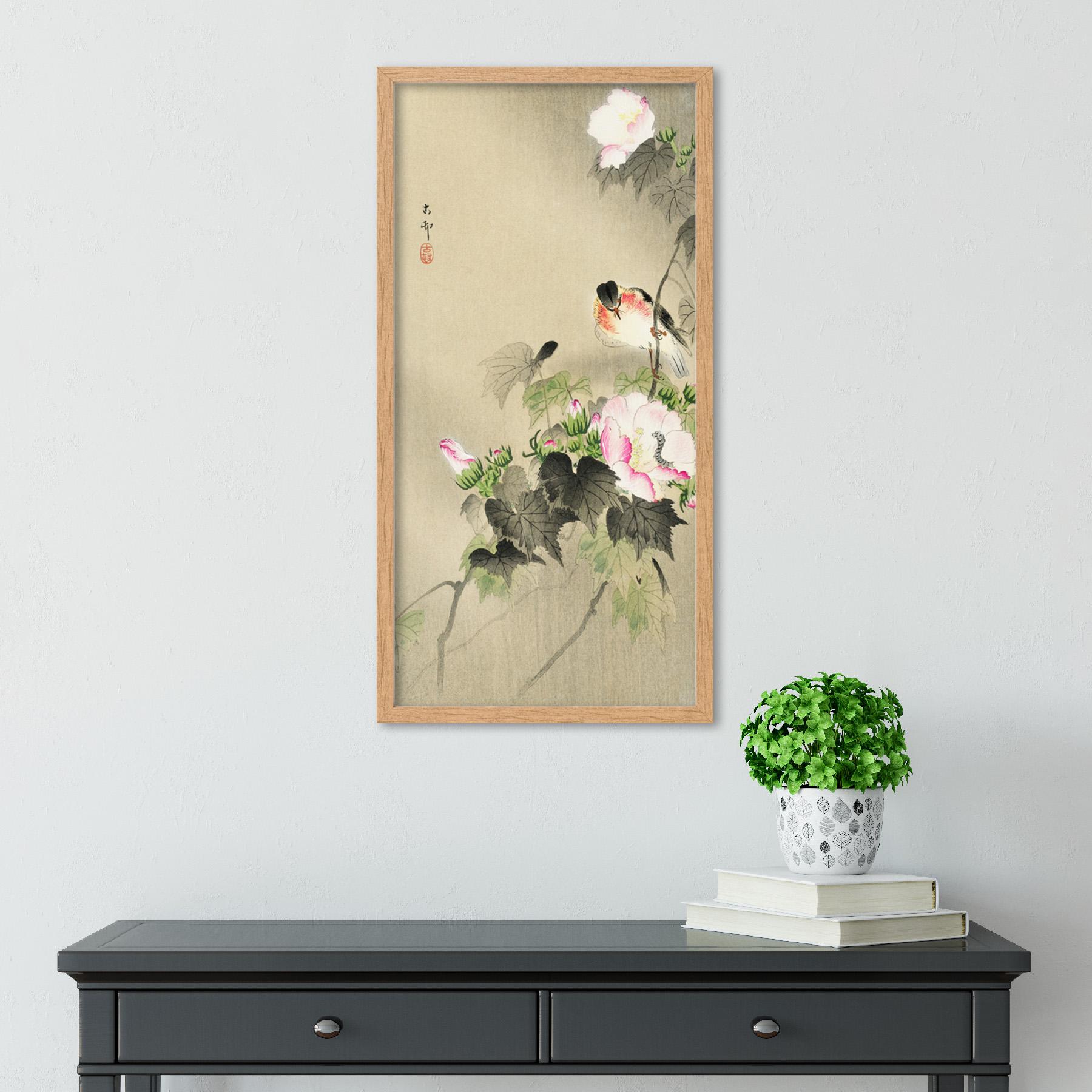 Ohara-Koson-Bird-and-caterpillar-Long-Framed-Art-Print thumbnail 13