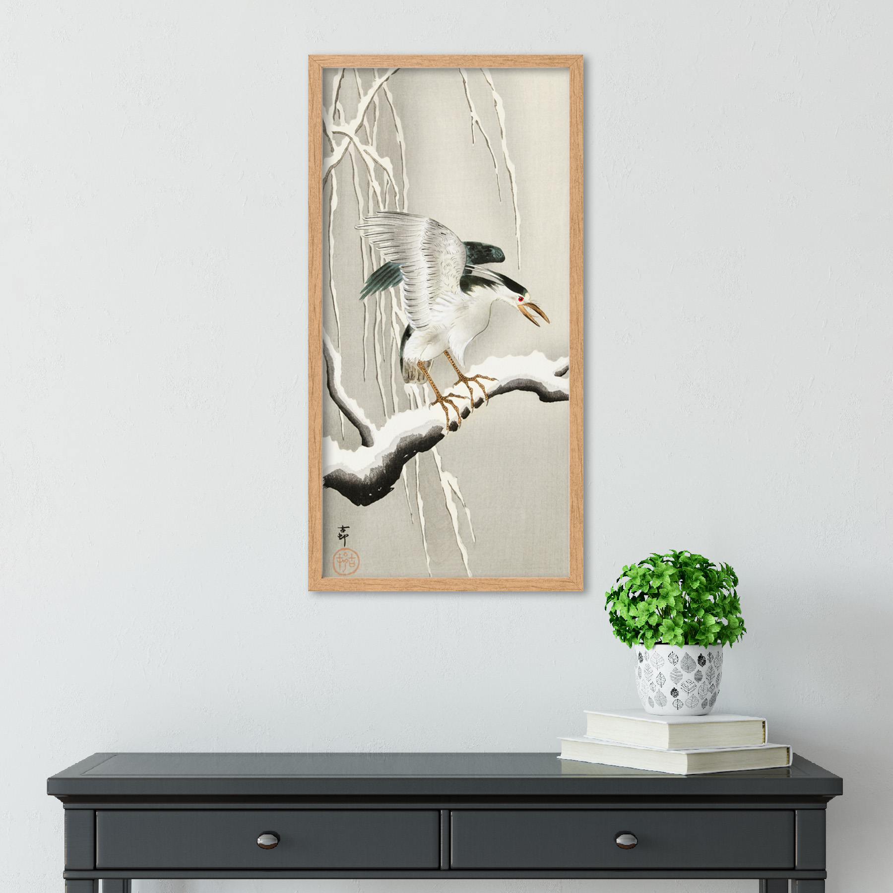 Ohara-Koson-Emerge-on-snowy-branch-Long-Framed-Art-Print thumbnail 13